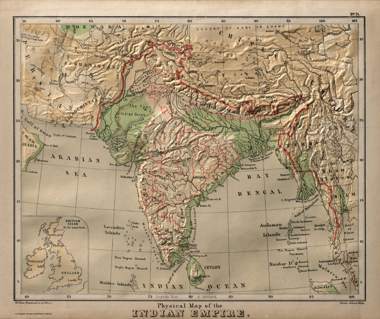 Physical Map of the Indian Empire David Rumsey Historical Map