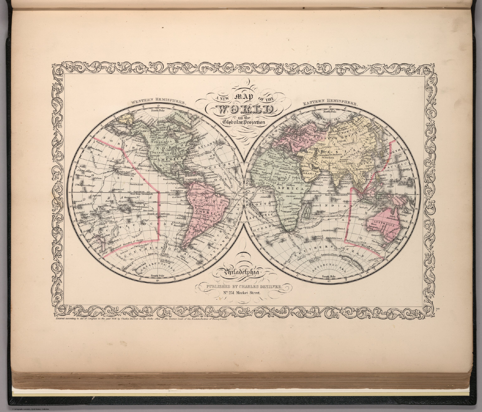 A New Map Of The World On The Globular Projection David Rumsey - Us Map Globular Projection