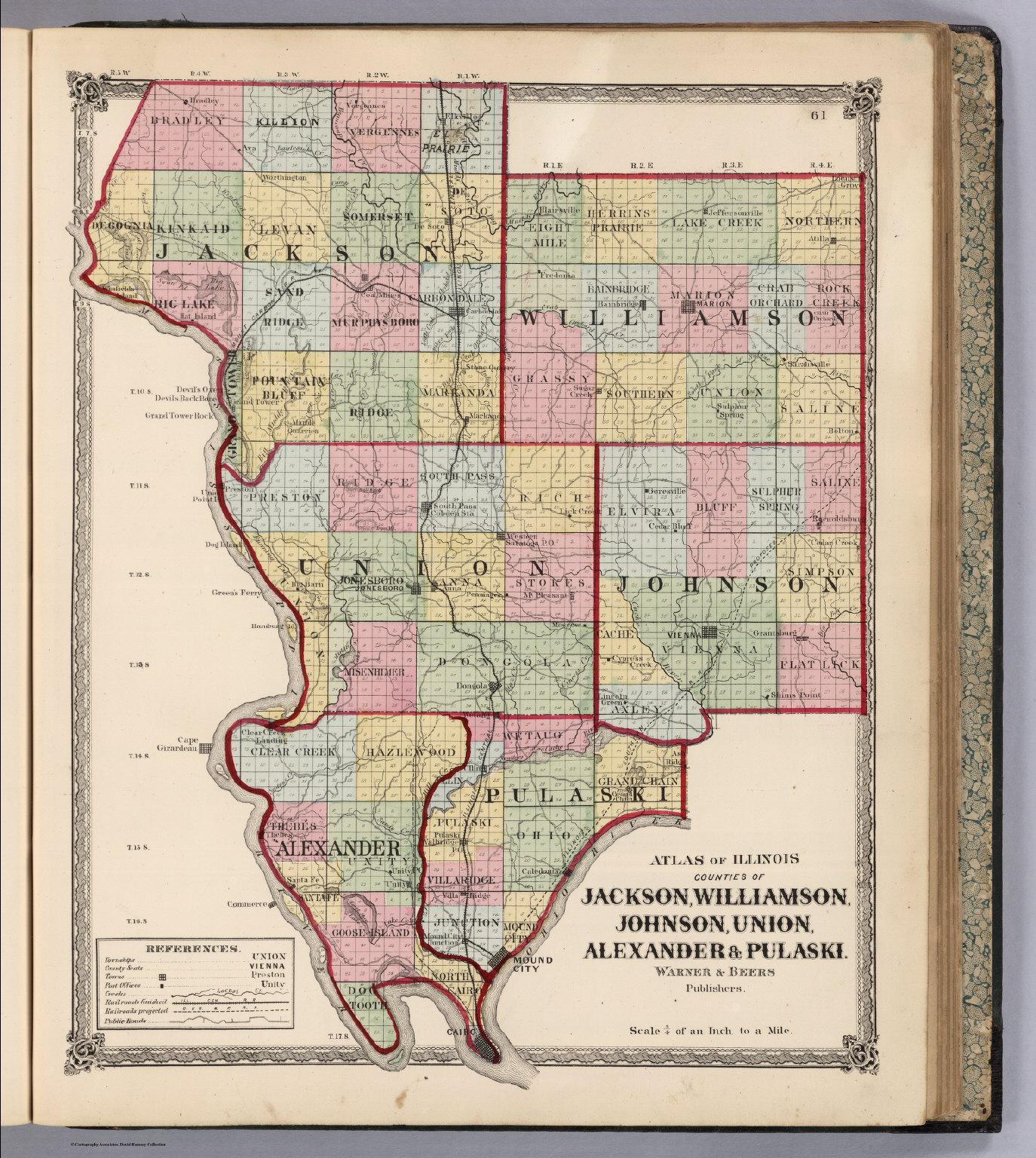 Atlas Of Illinois Counties Of Jackson Williamson Johnson Union