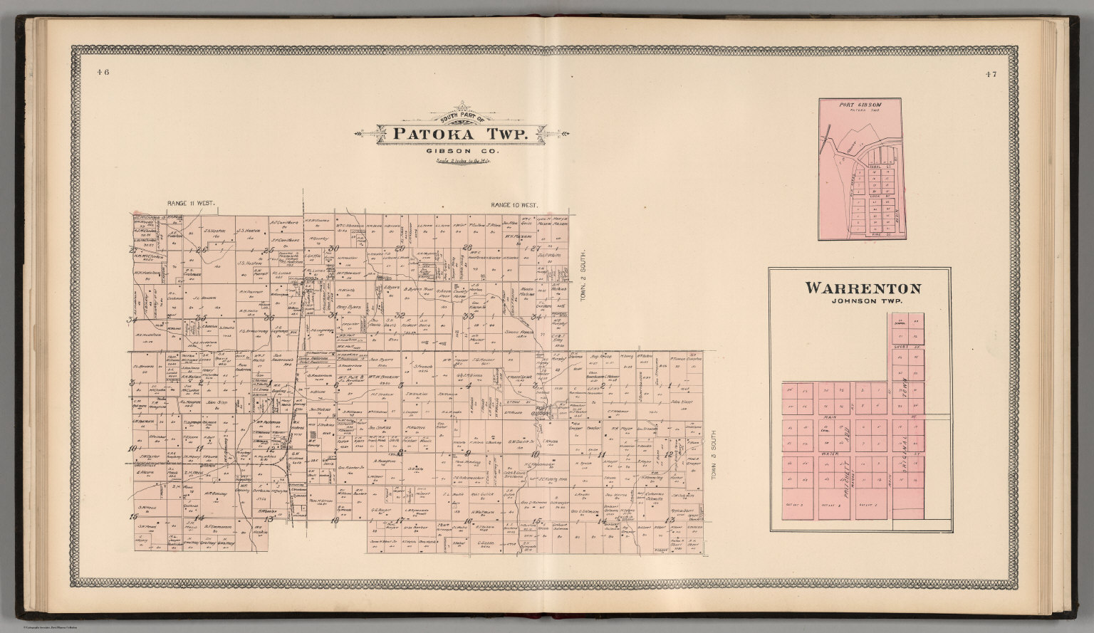 Gibson County Indiana Map.South Part Of Patoka Township Gibson County Indiana Warrenton