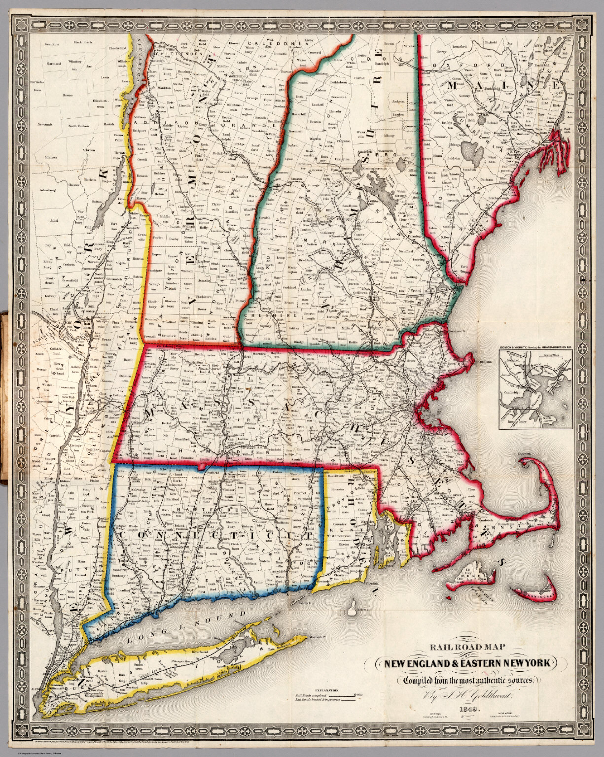 Railroad Map Of New England Eastern New York David Rumsey