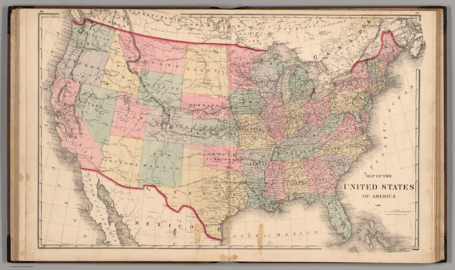 Us Map In 1880 United States of America, 1880.   David Rumsey Historical Map