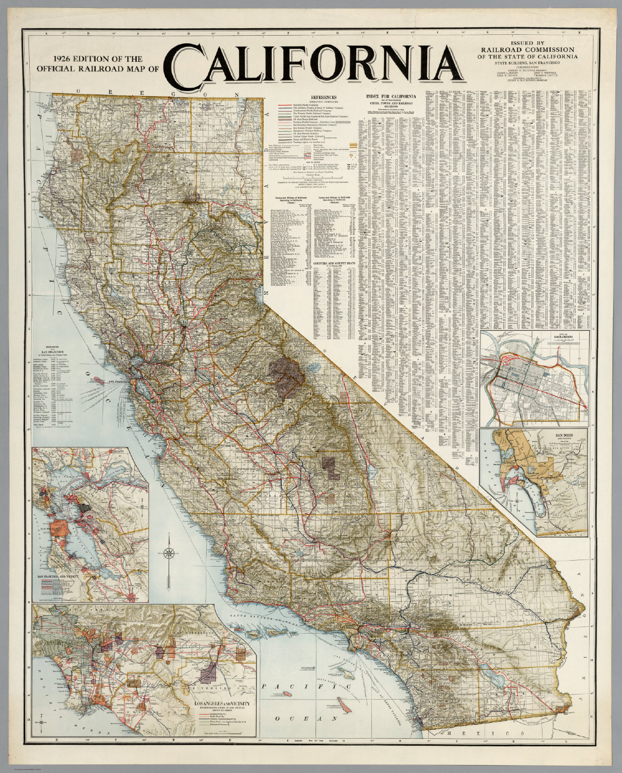Official Railroad Map Of California, 1926