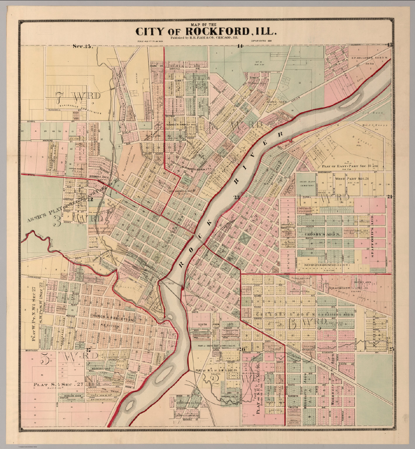 Rockford Il Map City of Rockford, Illinois.   David Rumsey Historical Map Collection