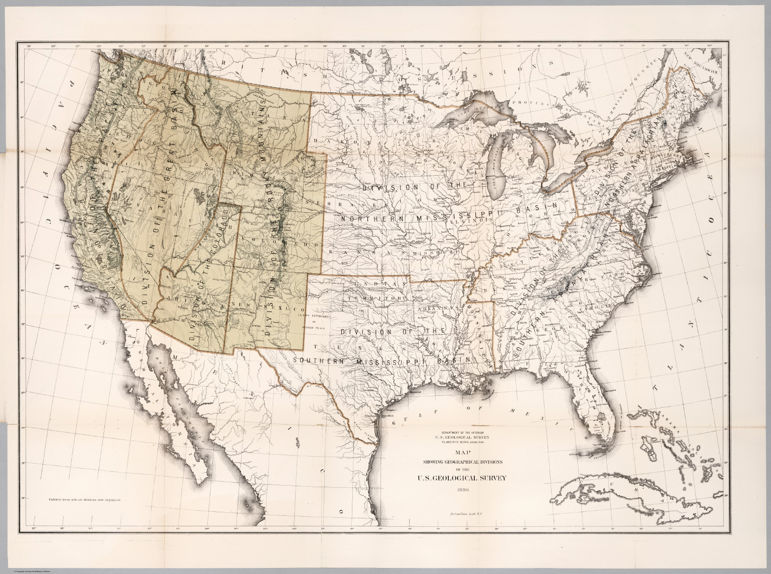 Map Showing Geographical Divisions Of The Us Geological Survey - 1880-map-of-us