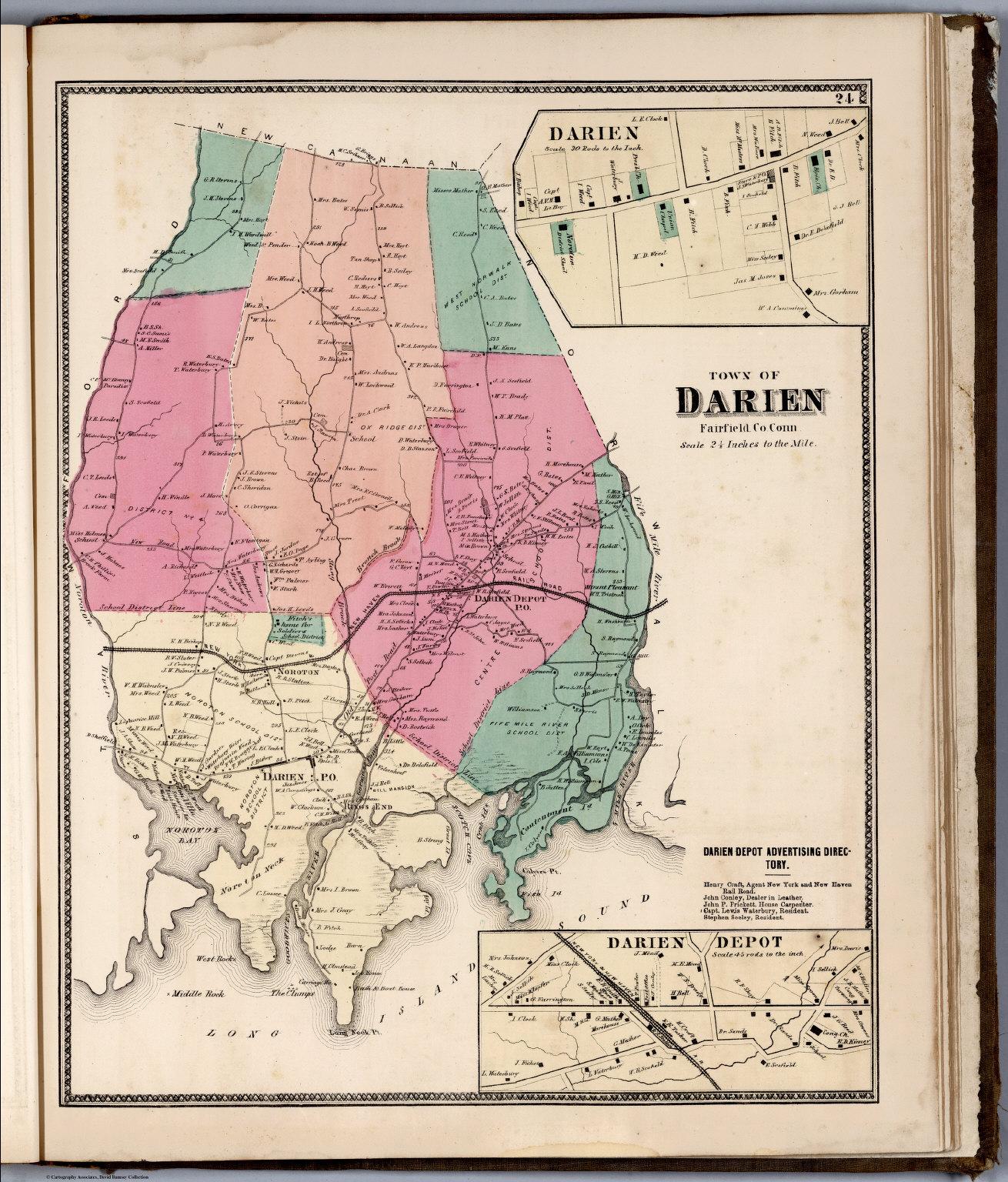 Town of Darien, Fairfield County, Connecticut. (inset) Darien ...