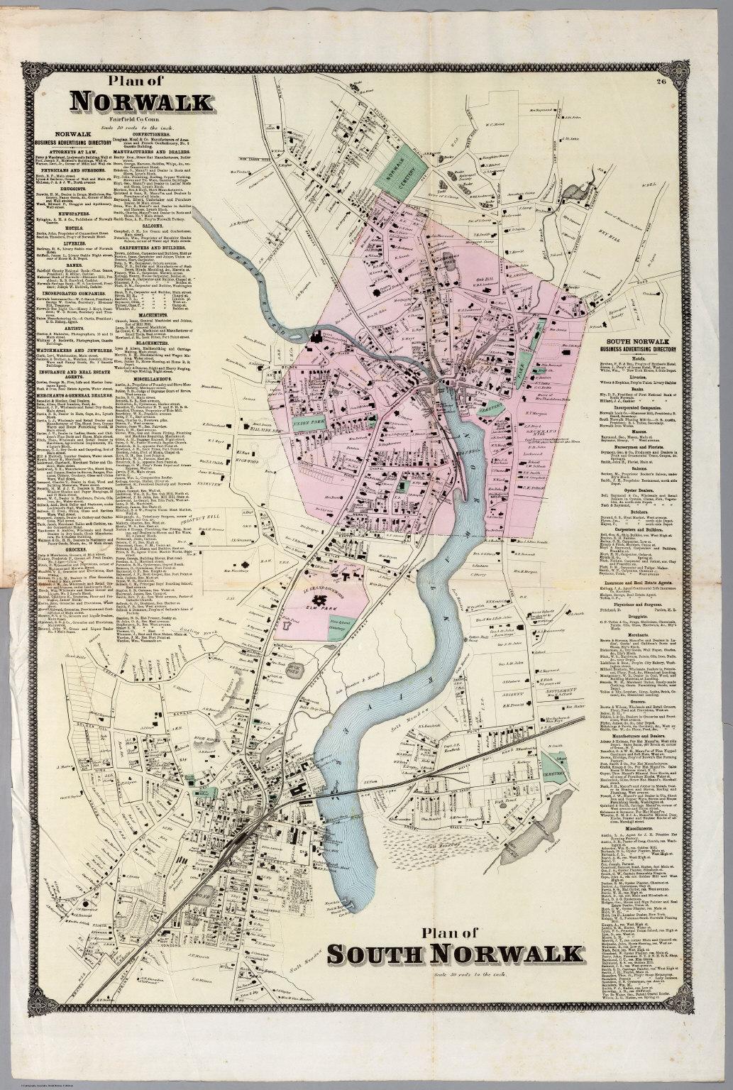 Plan of Norwalk, Plan of South Norwalk, Connecticut. - David Rumsey ...