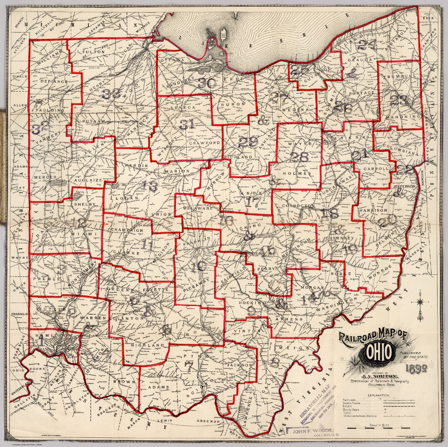 Railroad Map Of Ohio - David Rumsey Historical Map Collection