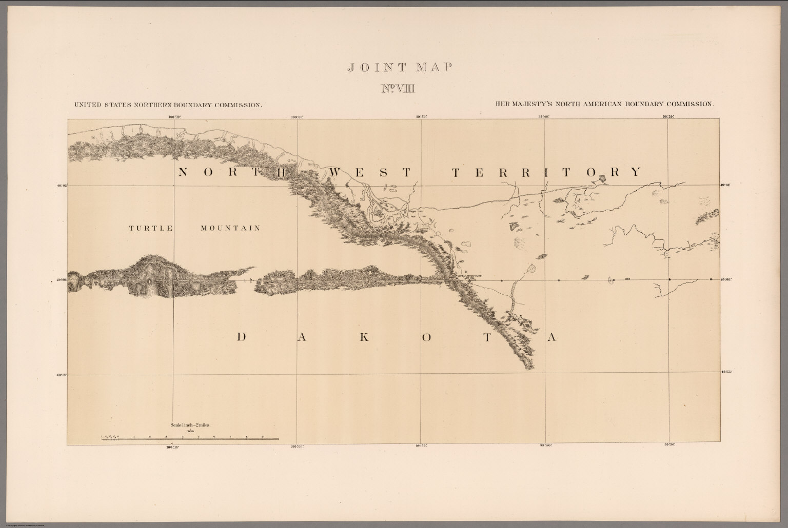 Joint Map No VIII United States Northern Boundary Commission - Map Of Us Northern Border