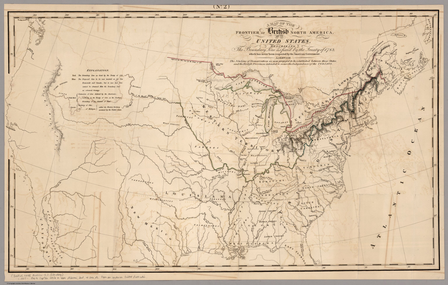 Map Of The Frontier Of British North America, And The United States ...
