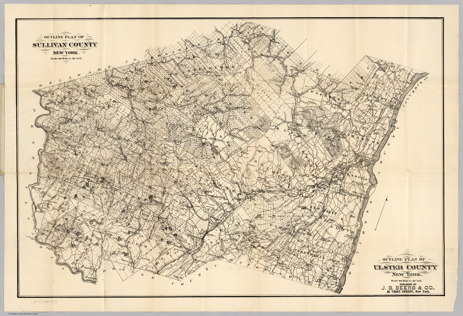 Ulster County New York Map.Sullivan County Ulster County New York David Rumsey Historical