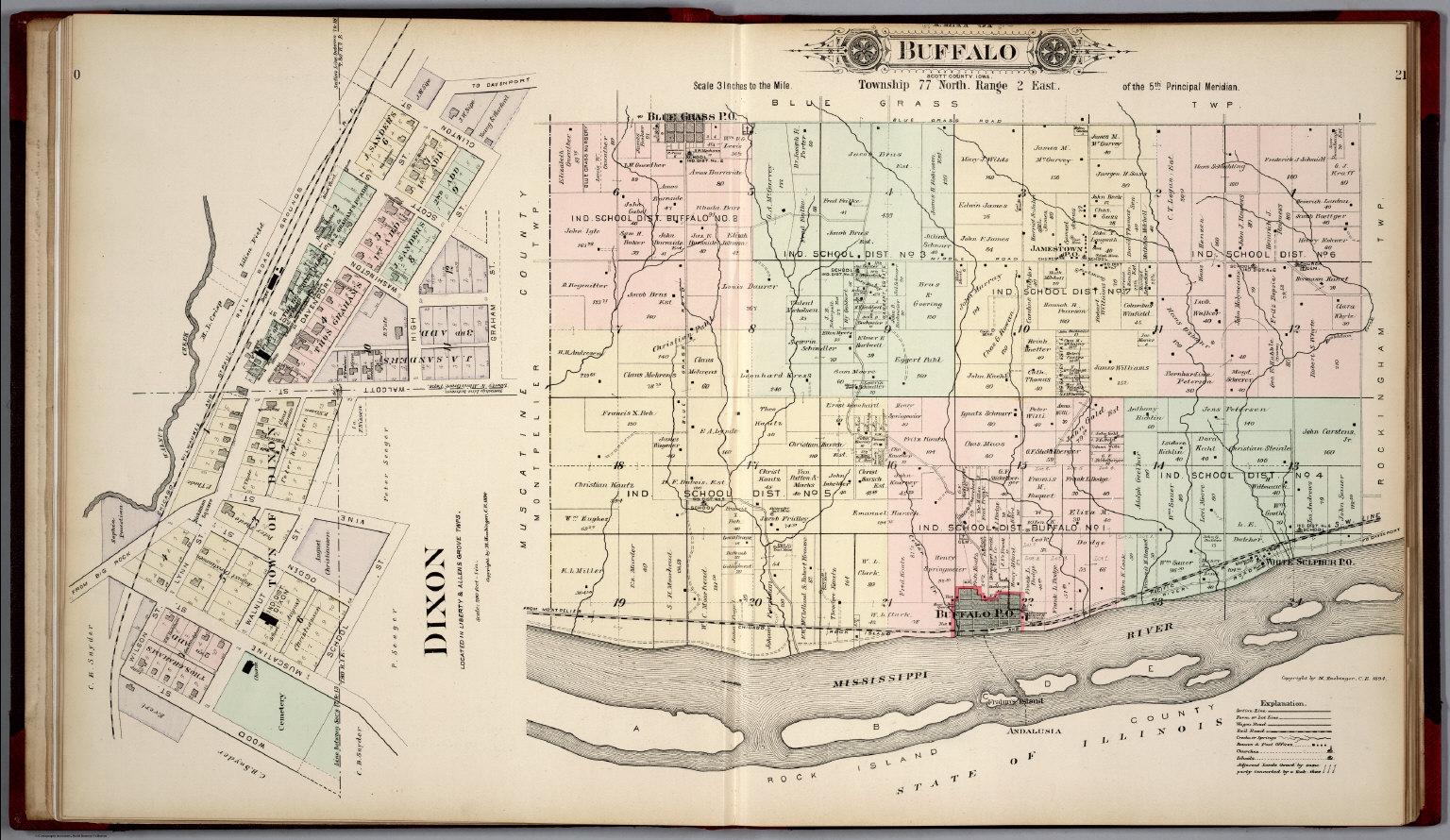 Scott County Plat Map Plat of Buffalo Township, Scott County, Iowa. Dixon.   David  Scott County Plat Map