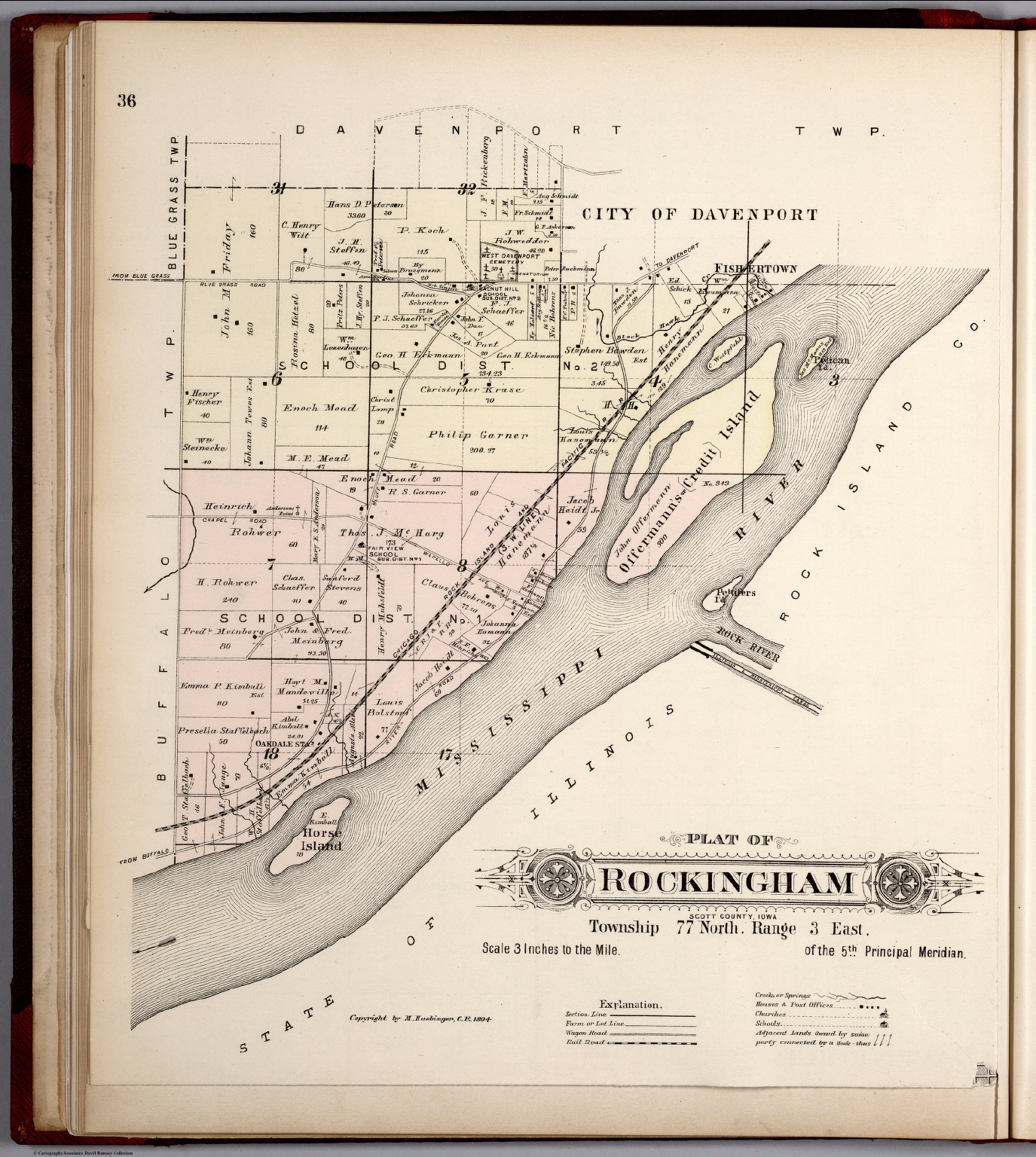 Garner Iowa Map.Plat Of Rockingham Township Scott County Iowa David Rumsey