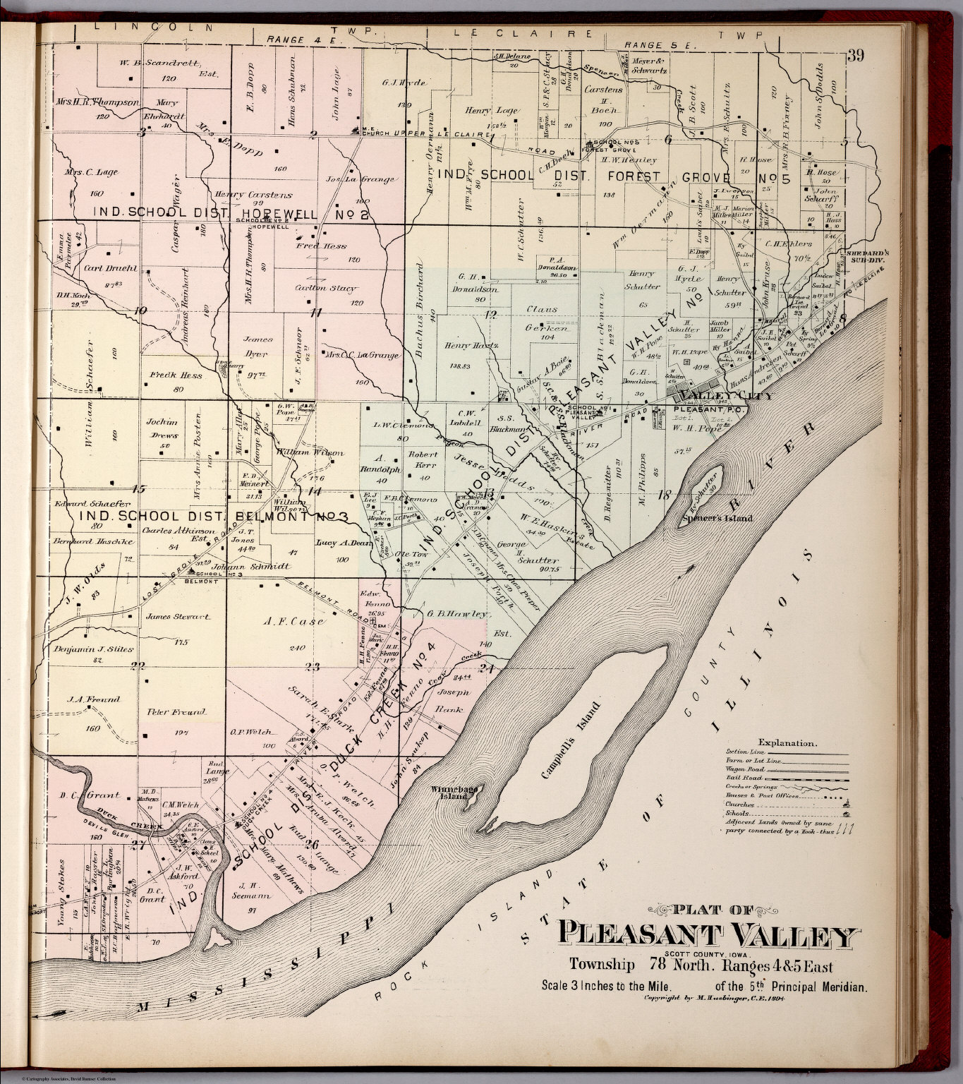 Scott County Plat Map Plat of Pleasant Valley Township, Scott County, Iowa.   David  Scott County Plat Map