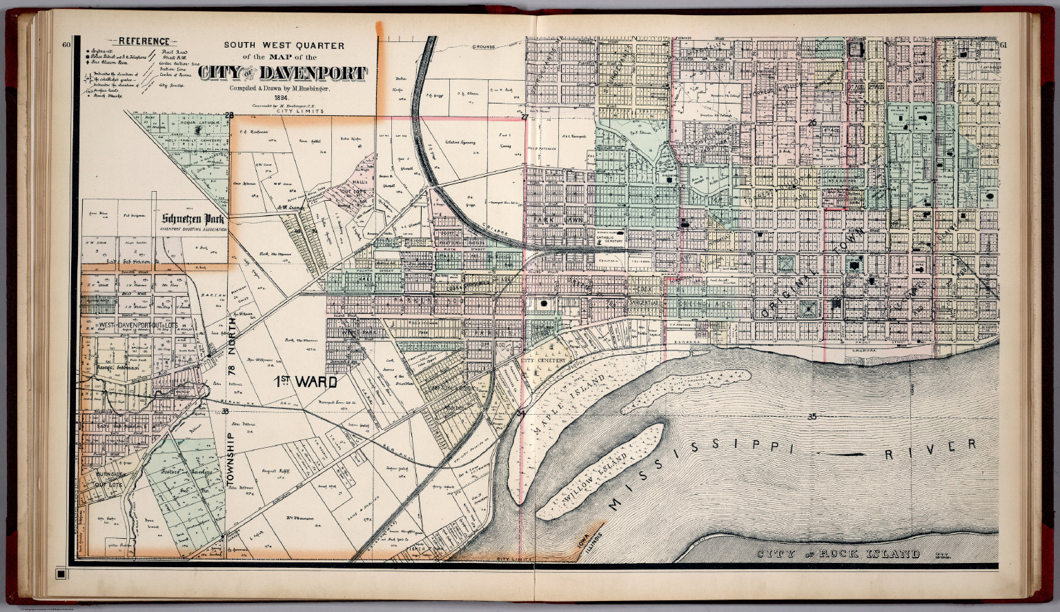 South West Quarter Of The Map Of The City Of Davenport Iowa