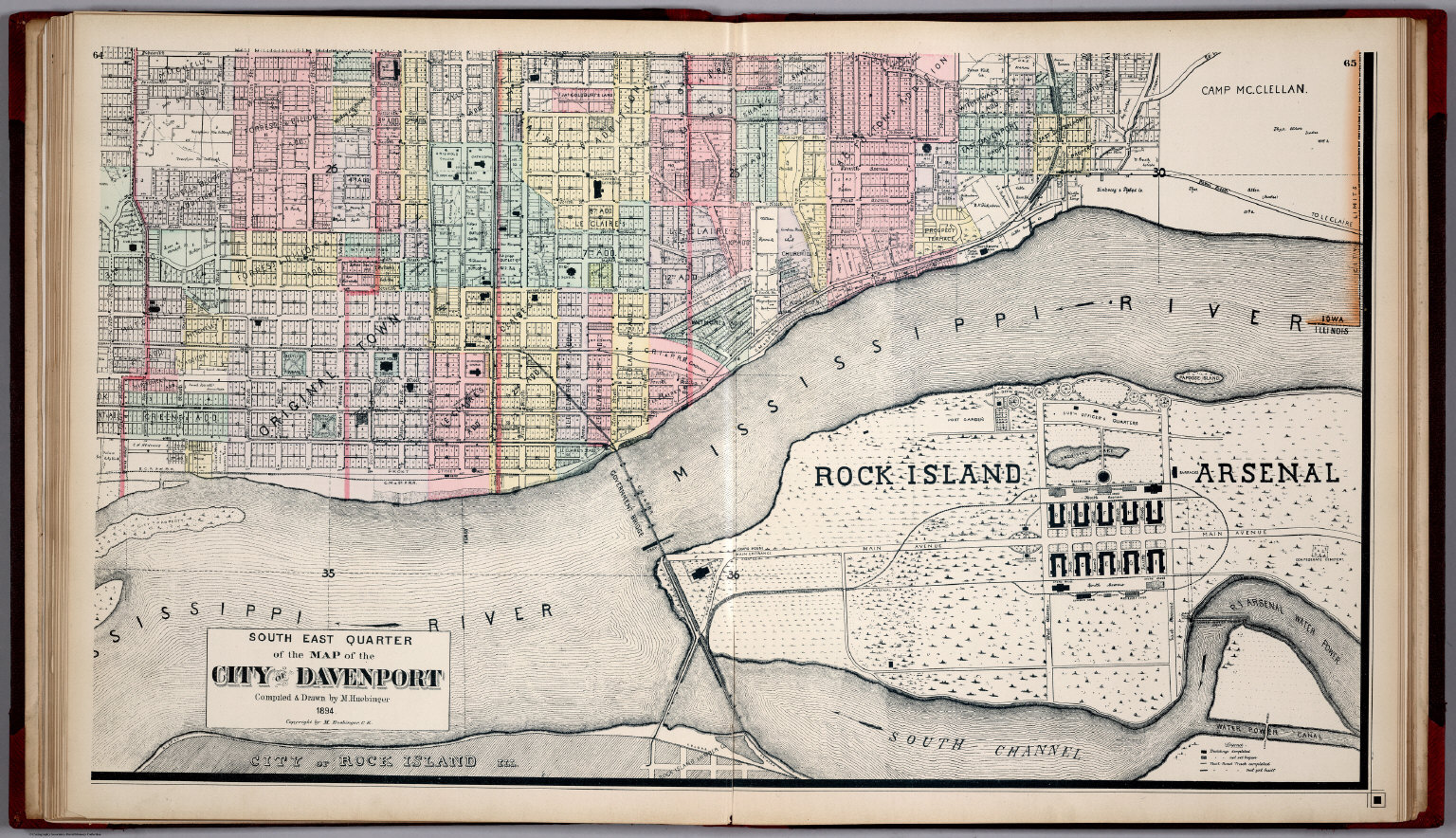South East Quarter of the Map of the City of Davenport Iowa