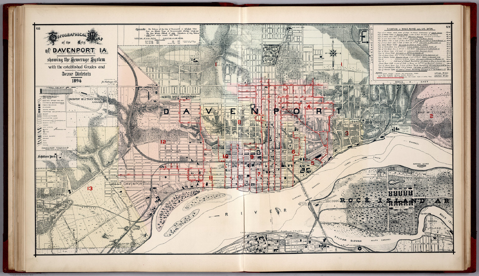 Map Of Davenport Iowa City of Davenport, Iowa, Showing the Sewerage System.   David  Map Of Davenport Iowa