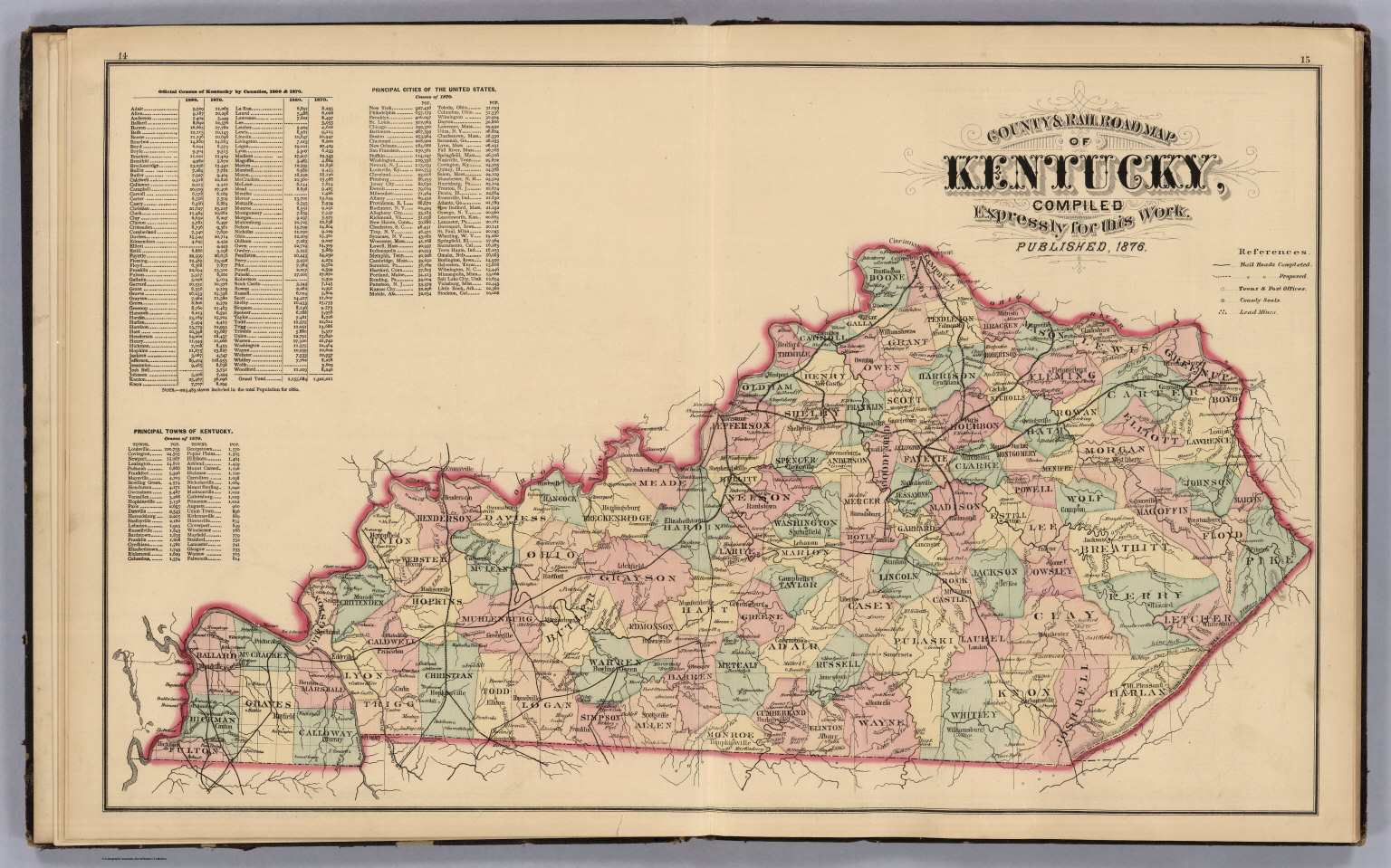 County and Road Map of Kentucky. - David Rumsey Historical Map ...