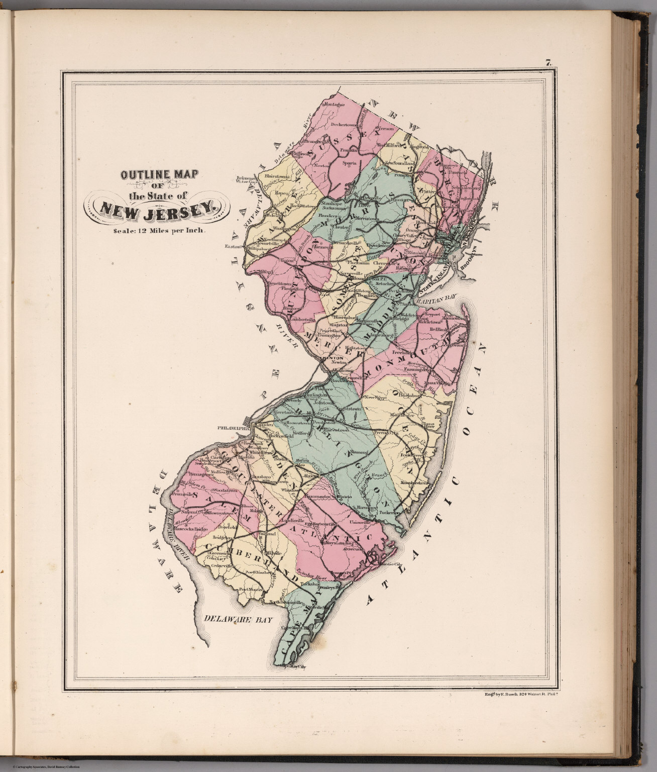 Outline Map of the State of New Jersey. - David Rumsey Historical ...