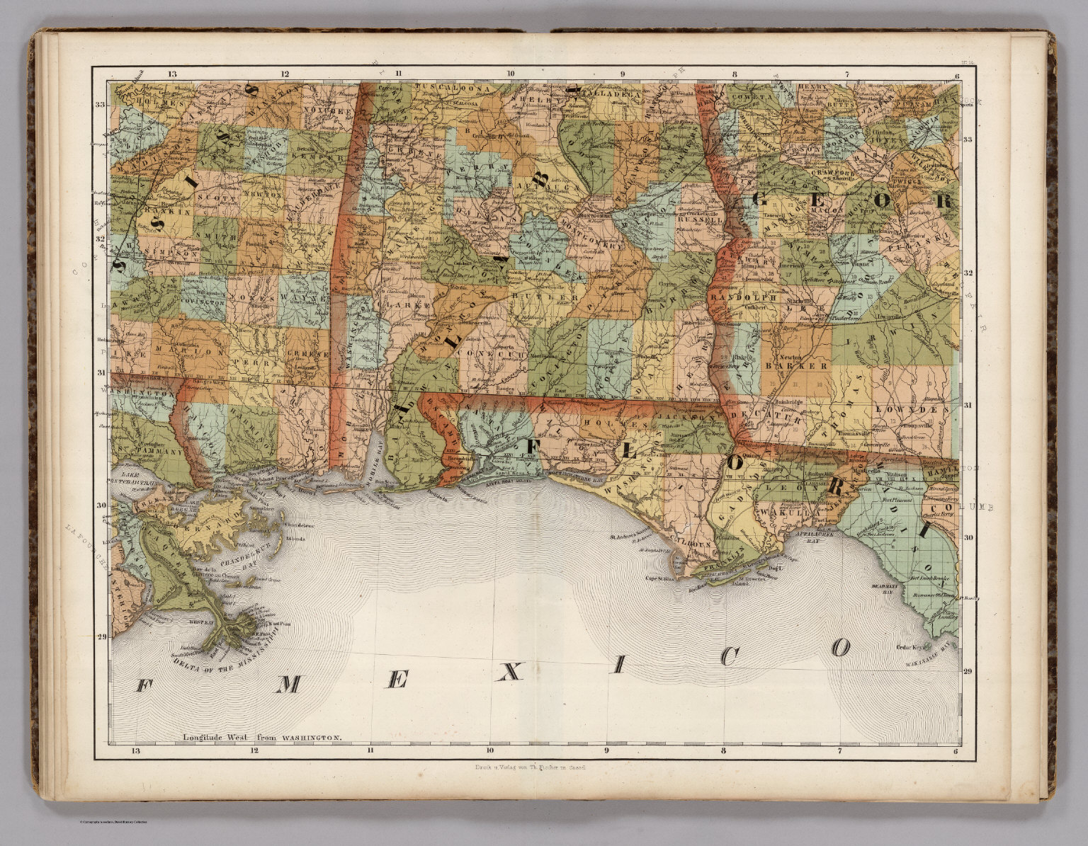 Florida And Georgia Map.Mississippi Alabama Florida Georgia David Rumsey Historical
