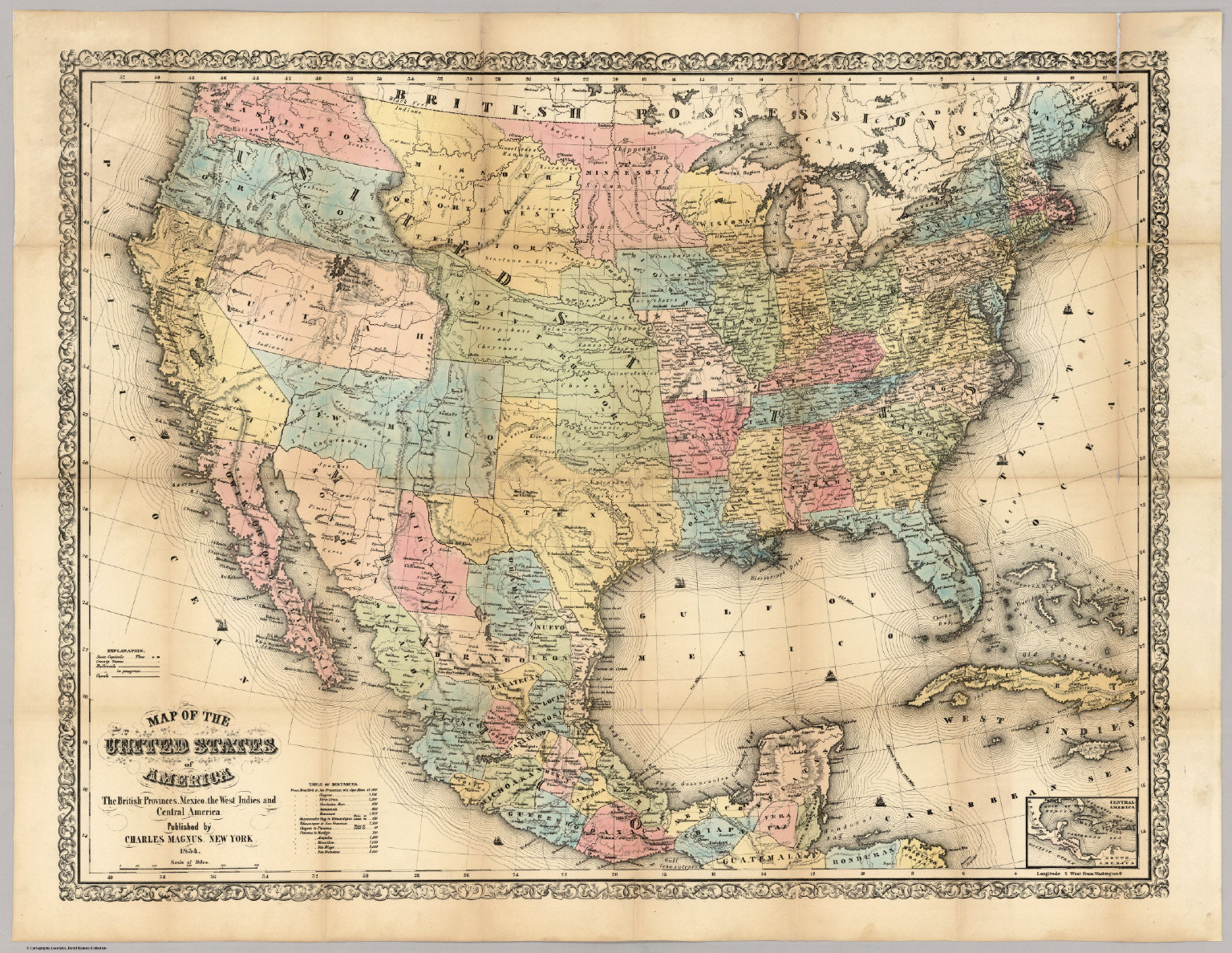 map of the united states of america the british provinces mexico