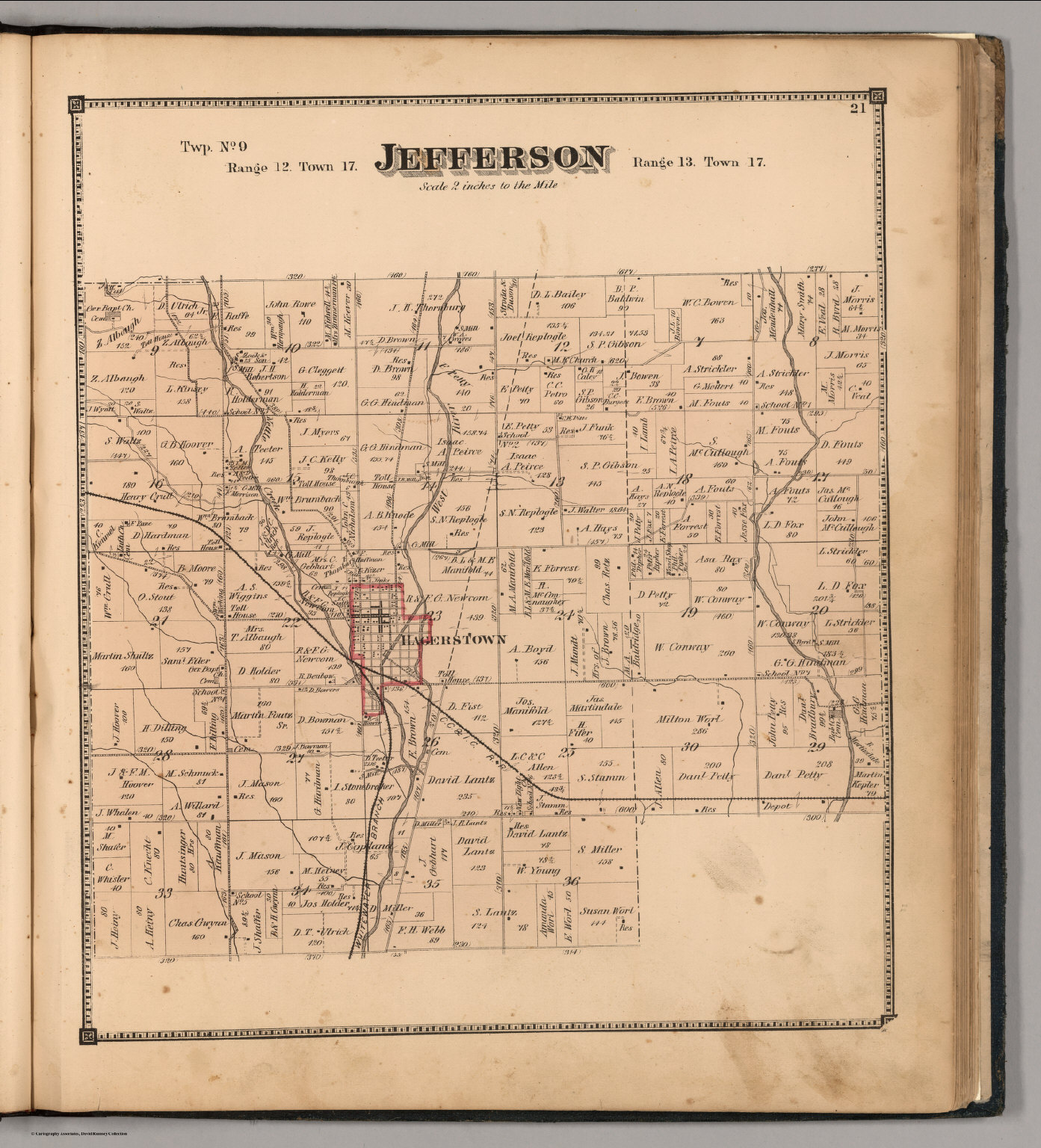 Jefferson County Indiana Map.Jefferson Township Wayne County Indiana David Rumsey Historical