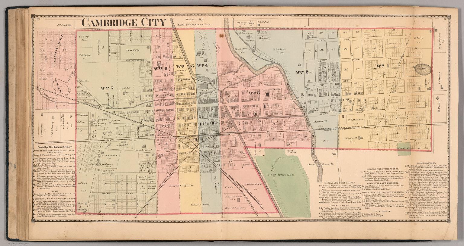 Cambridge City, Wayne County, Indiana.   David Rumsey Historical