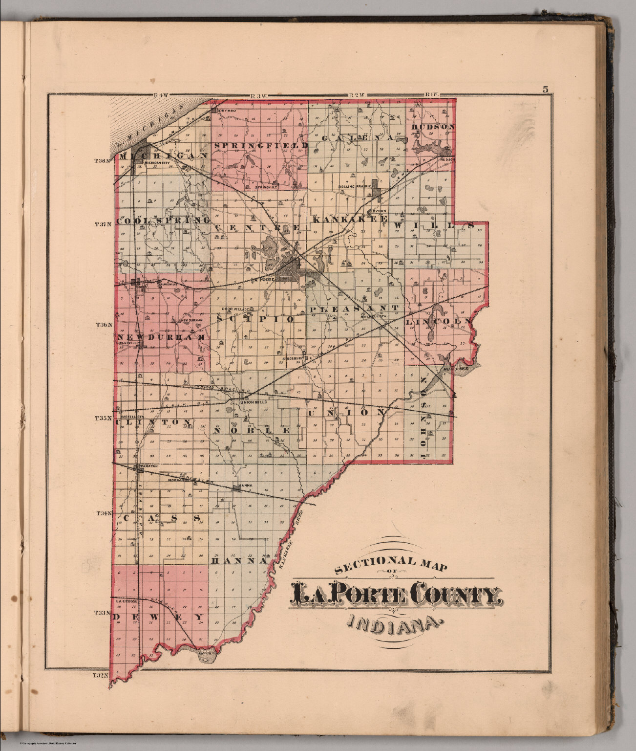 La Porte County Indiana Map.Sectional Map Of Laporte County Indiana David Rumsey Historical