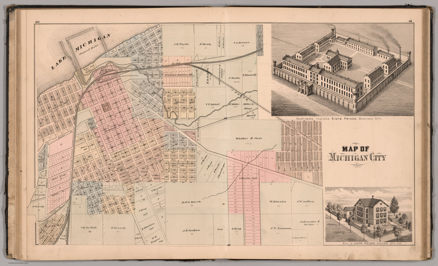 Michigan And Indiana Map.Map Of Michigan City View State Prison Residence Of Jacob Weiler
