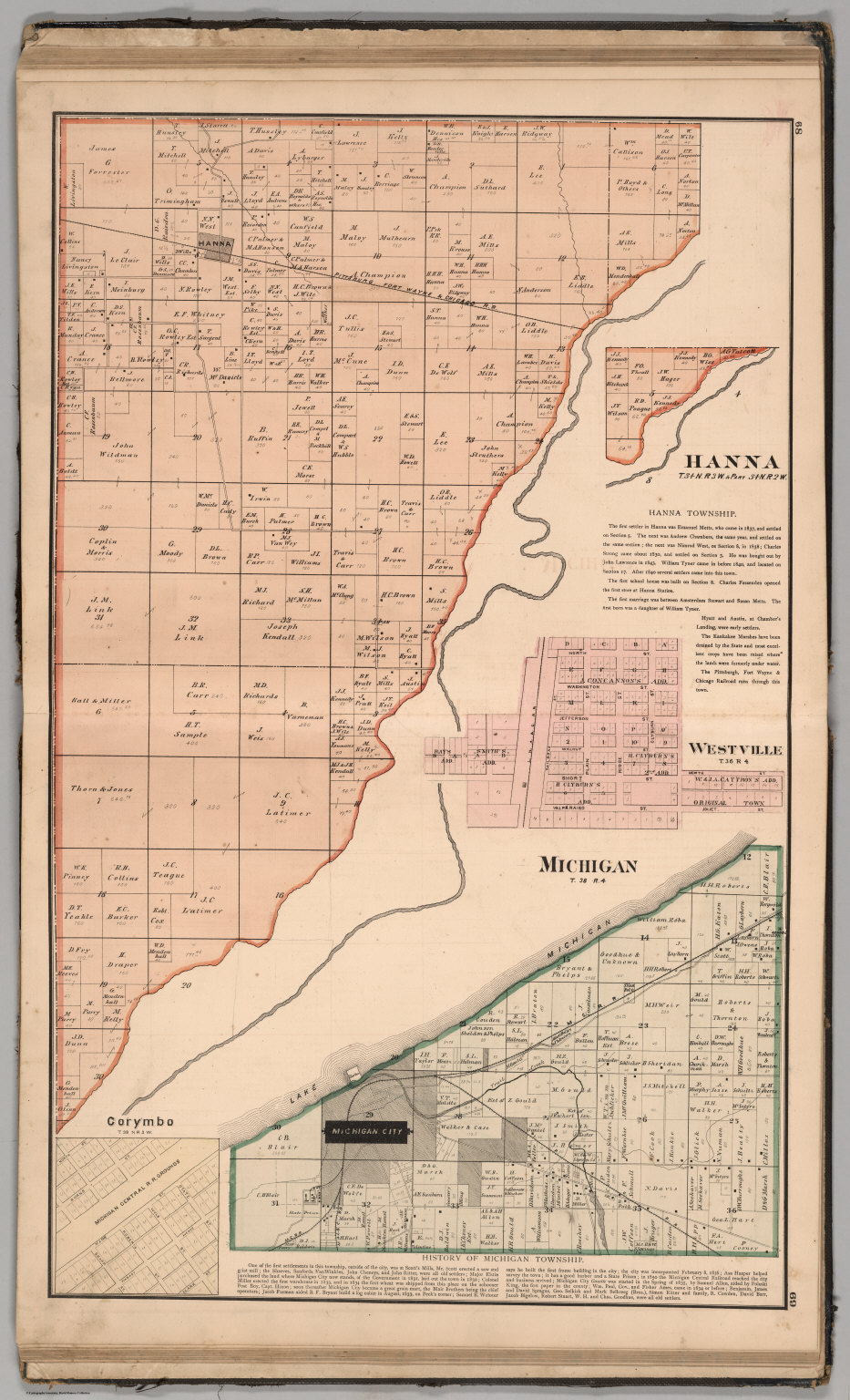 Westville Indiana Map.Hanna And Michigan Townships Laporte County Indiana Westville