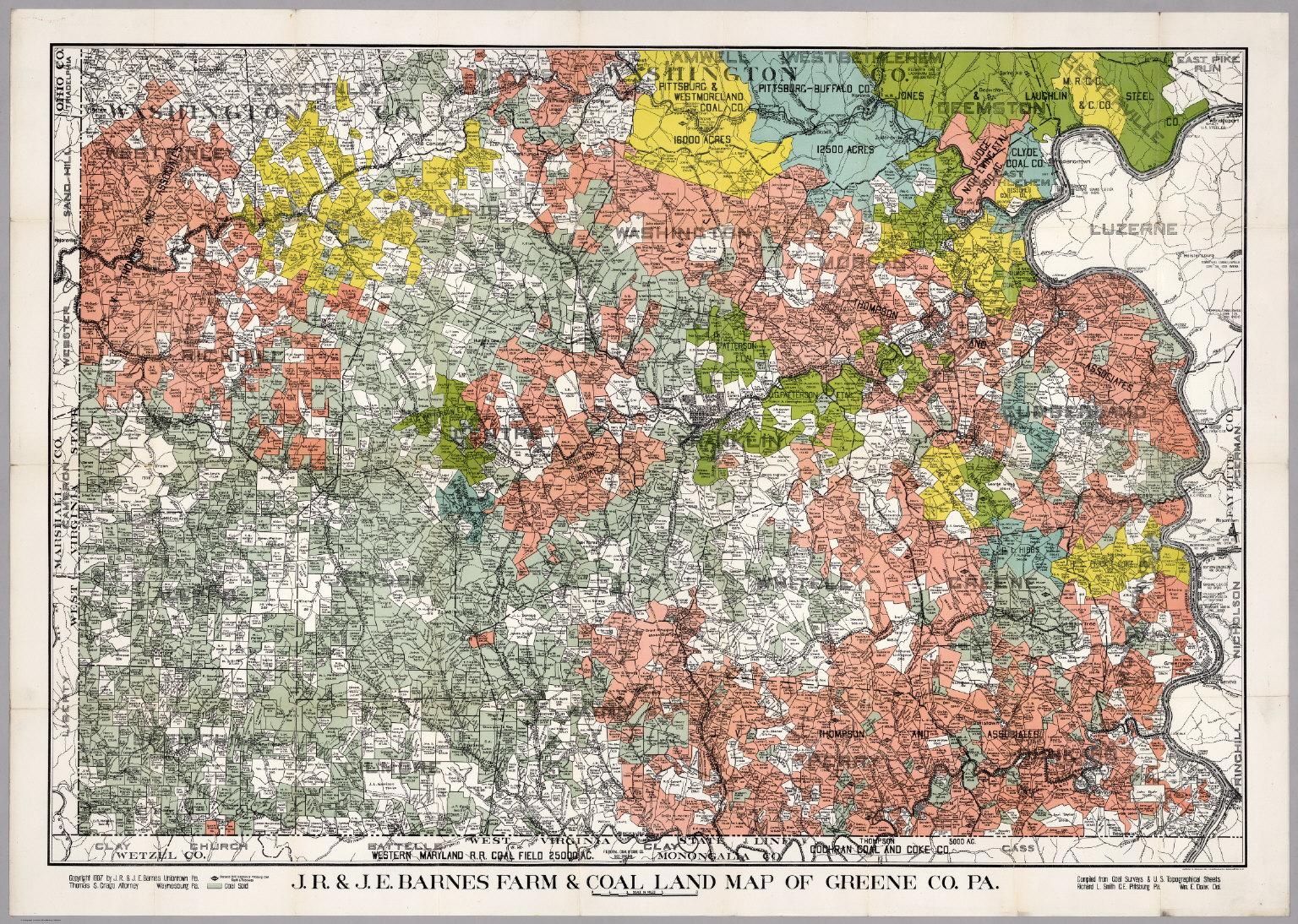 J.R. & J.E. Barnes Farm & Coal Land Map of Greene County