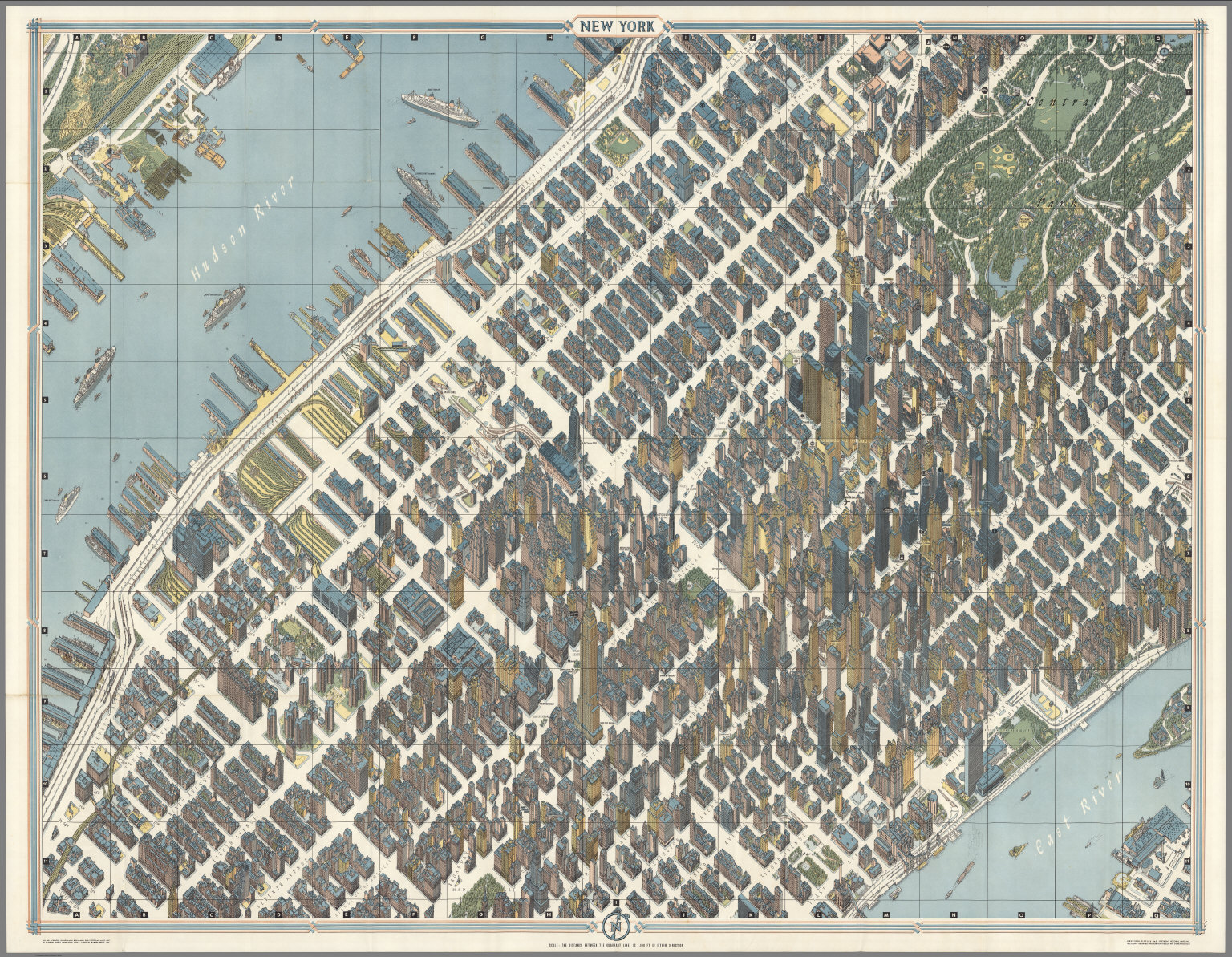 Detailed Map Of New York City.New York City Picture Map A 3 D Map Of Mid Town Manhattan David