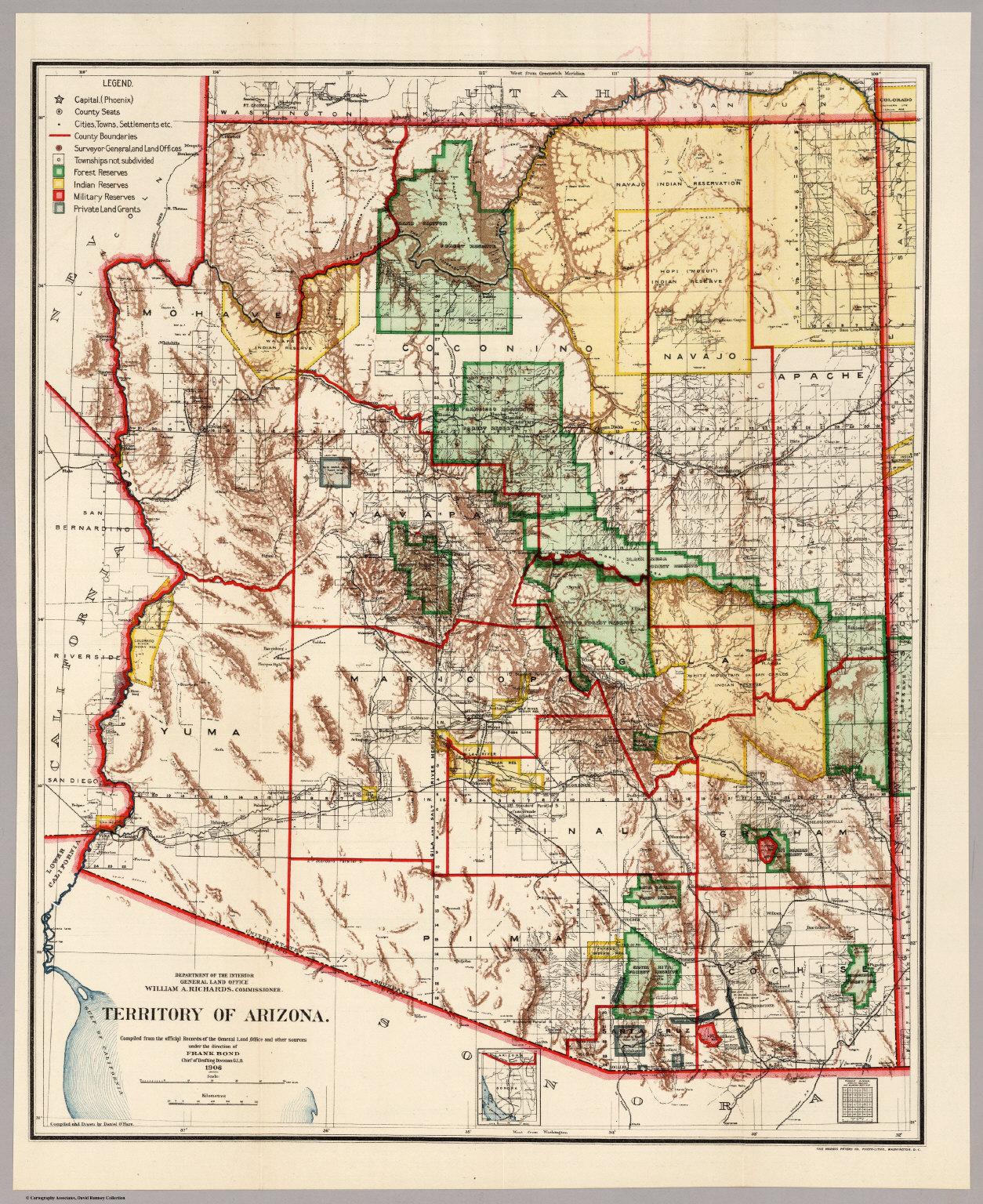 Territory of Arizona, 1906 - David Rumsey Historical Map ... on general map of georgia, general map of florida, general map of manhattan, general map of idaho, general map of paris,