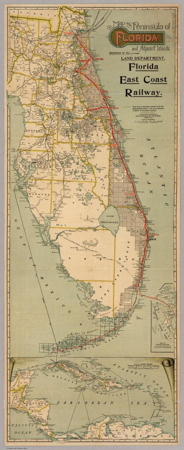 Map Of The Peninsula Of Florida And Adjacent Islands David - Florida east coast map