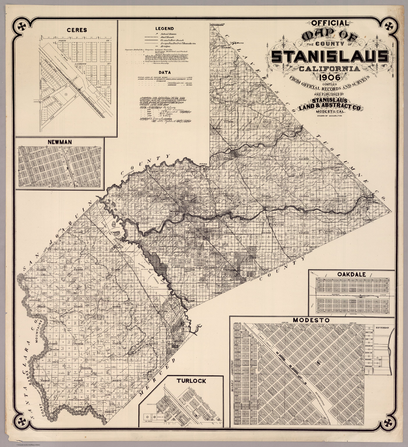 Map Of The County Of Stanislaus, California 1906   David Rumsey