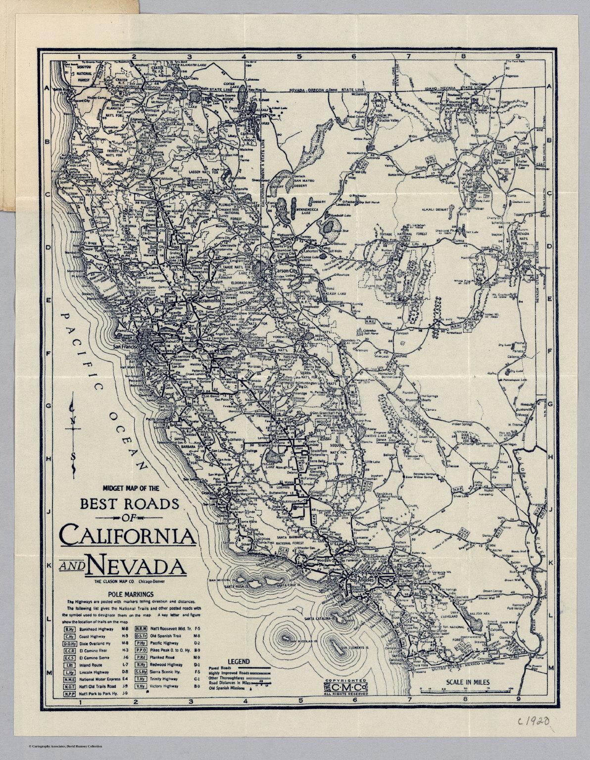Roads Of California And Nevada.