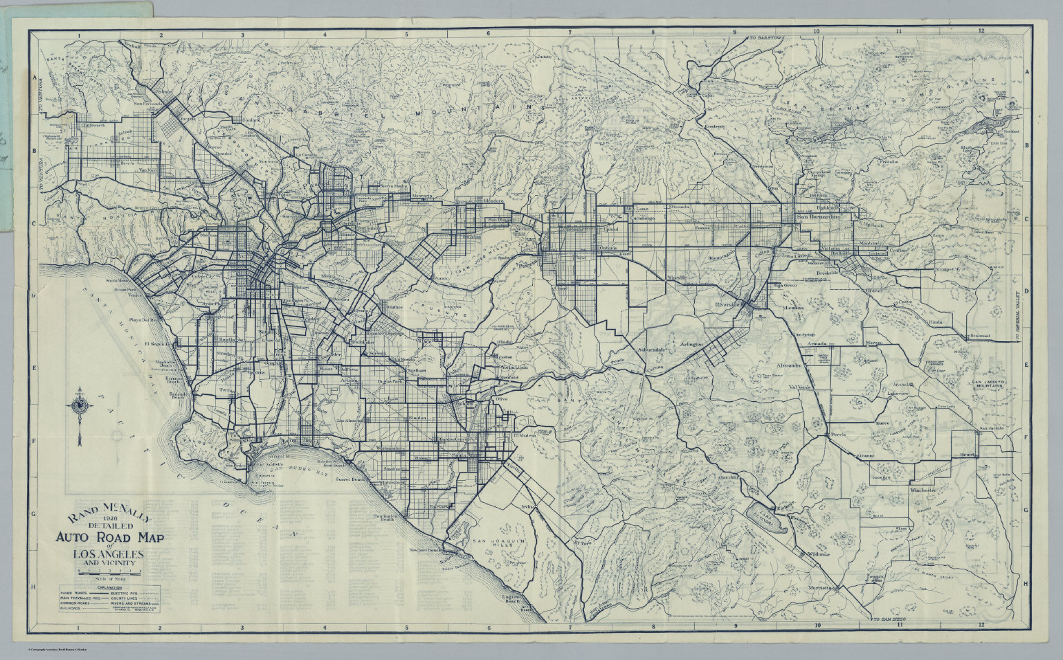 Auto Road Map Of Los Angeles And Vicinity David Rumsey Historical - Buy historical maps