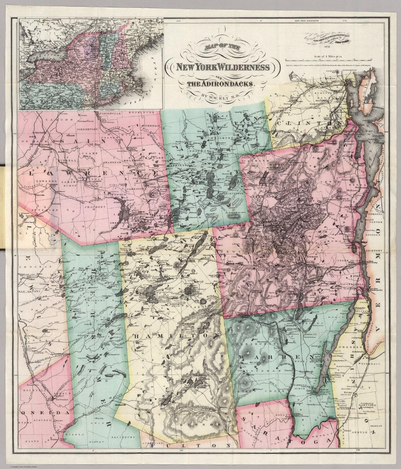 New York Wilderness And The Adirondacks - David Rumsey ... Map Adirondacks on new york map, pinckney chain of lakes map, great sacandaga lake map, binghamton map, ny map, boston map, watertown map, gunks map, cape cod map, philadelphia map, plattsburgh map, colorado scenic drives map, mount marcy trail map, essex chain lakes map, albany map, saranac lake map, hiking map, lake placid map, long island map, schenectady map,