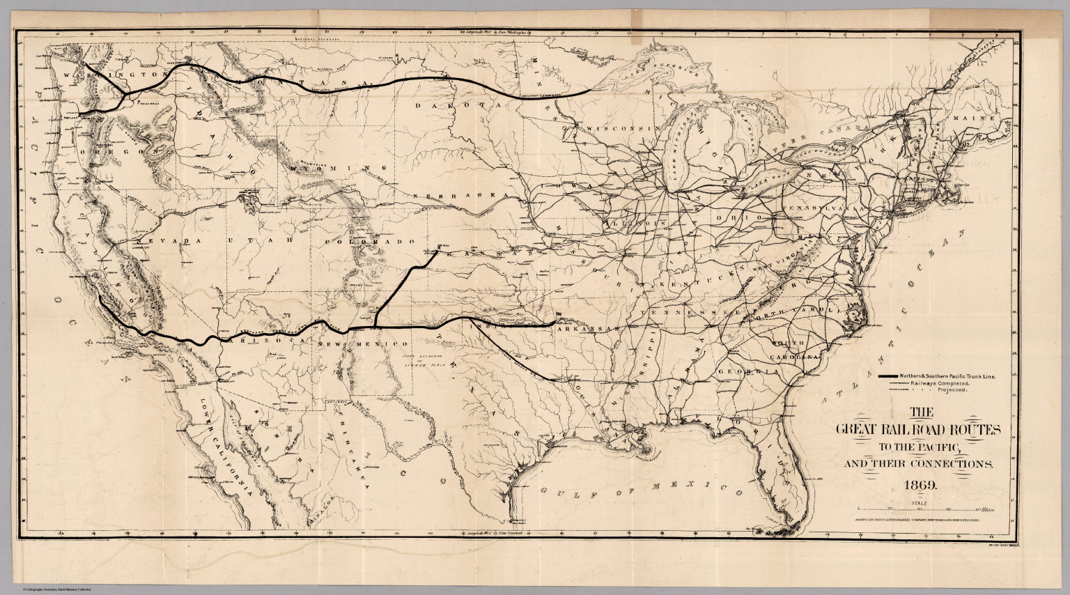 Union Pacific Railroad History Map Railroad Routes To The Pacific   David Rumsey Historical Map