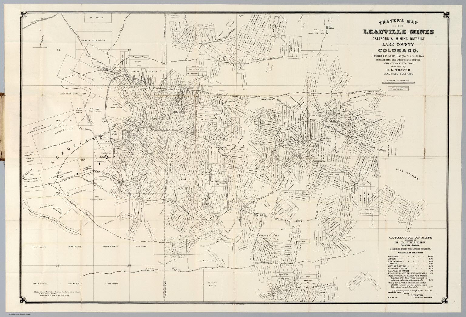 Lake County Colorado Map.Leadville Mines California Mining District Lake County Colorado