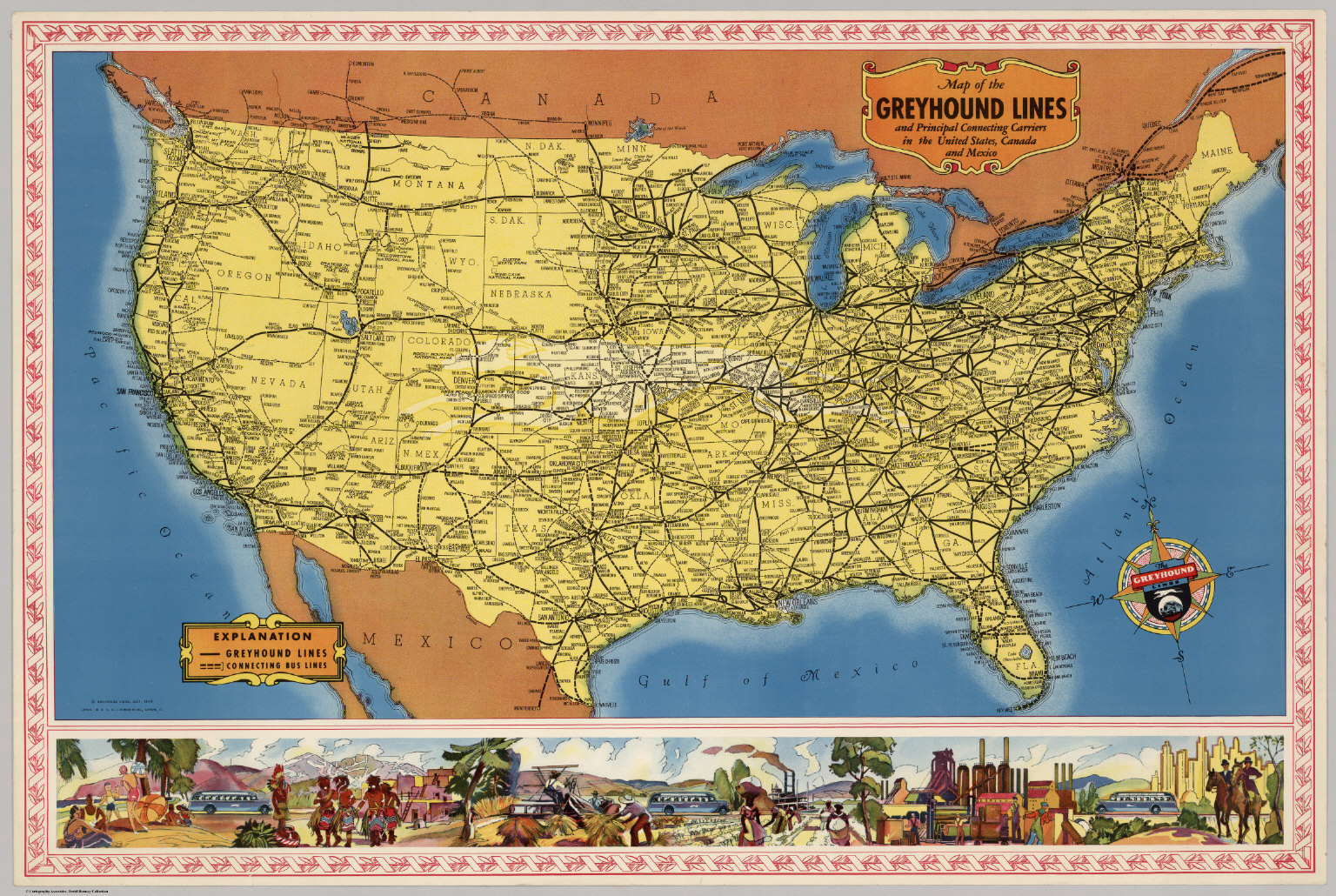Map of the Greyhound Lines in the United States, Canada and Mexico ...