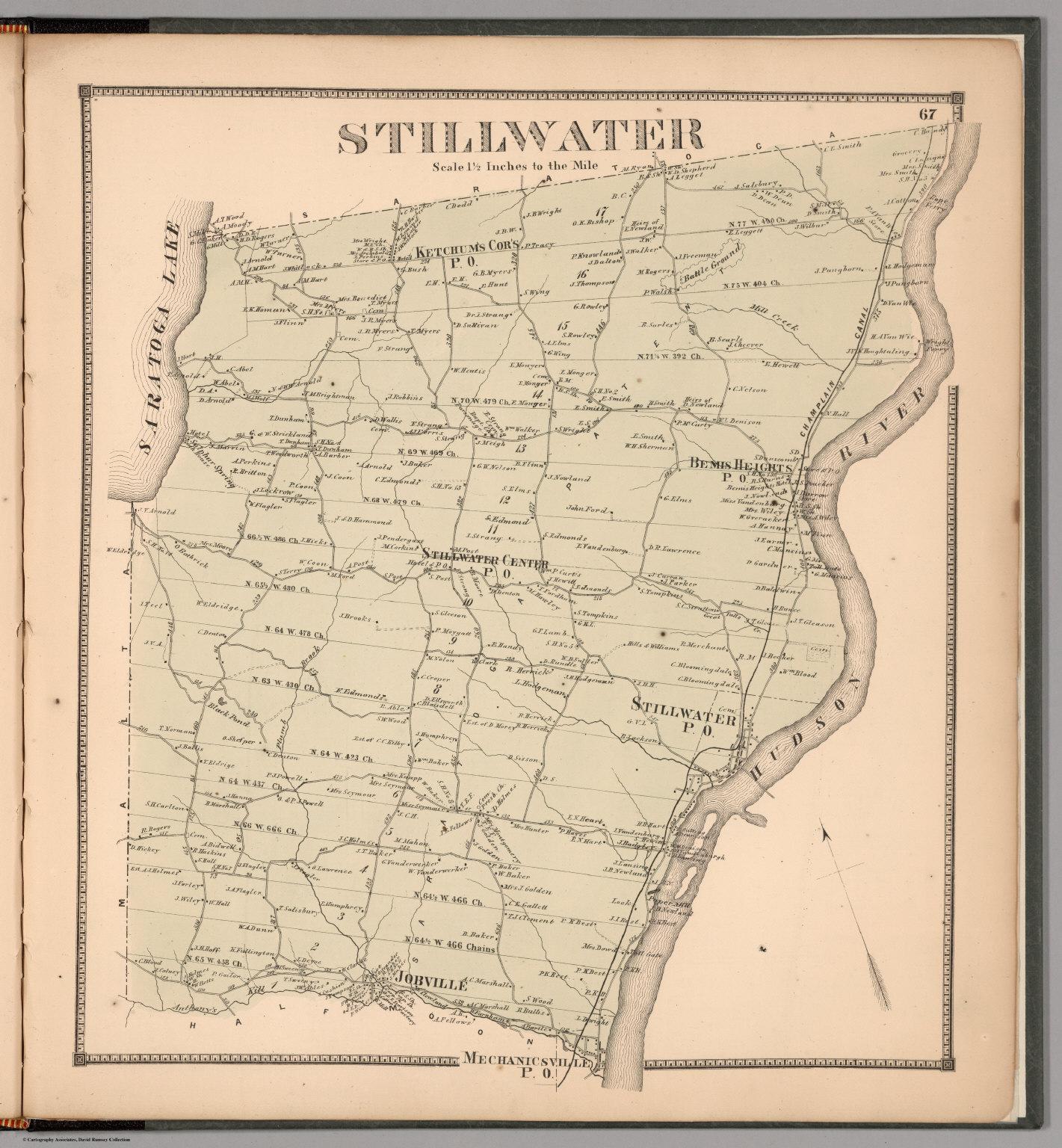 Saratoga New York Map.Stillwater Saratoga County New York David Rumsey Historical Map