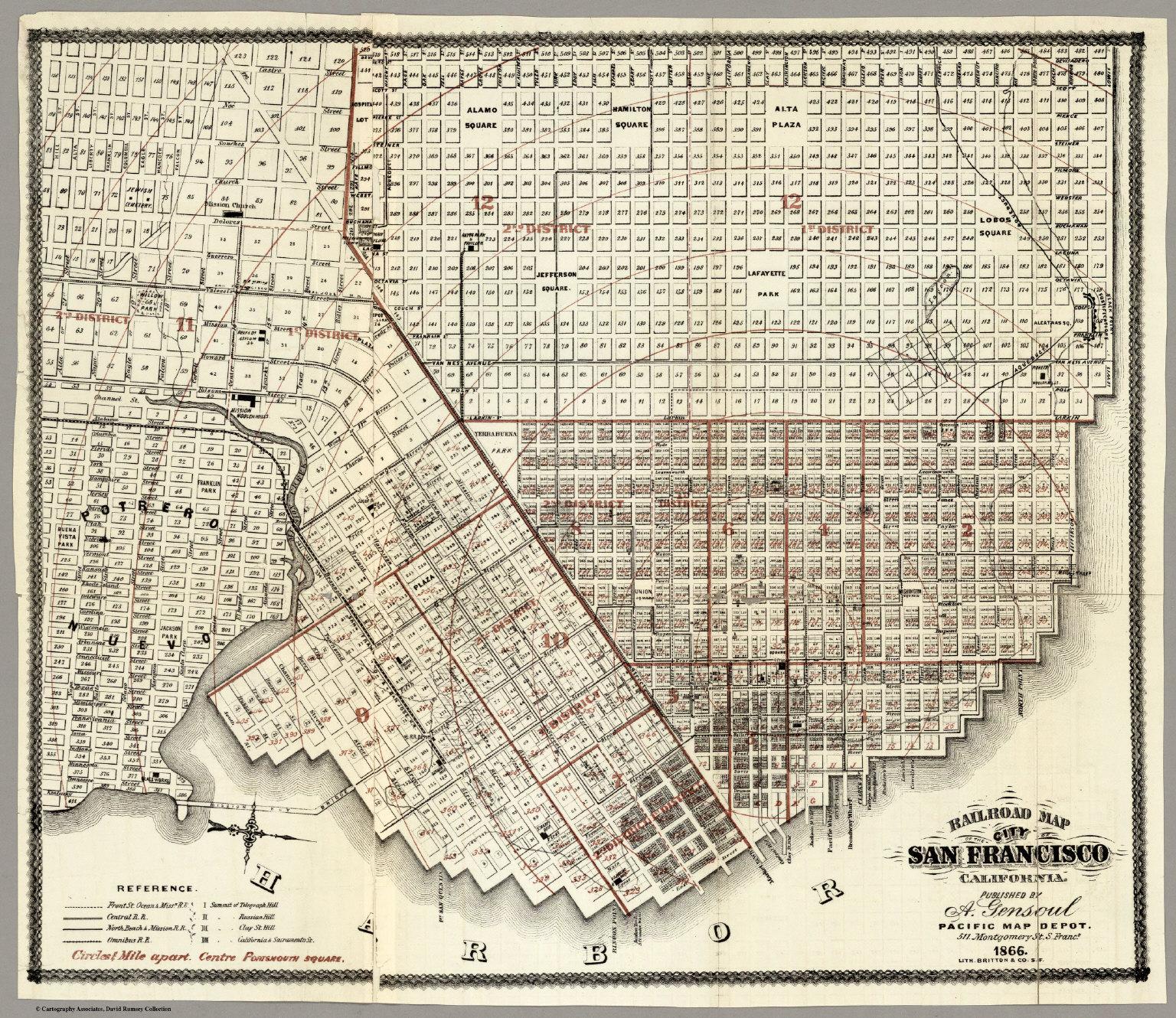 Railroad Map Of The City Of San Francisco California 1866 David