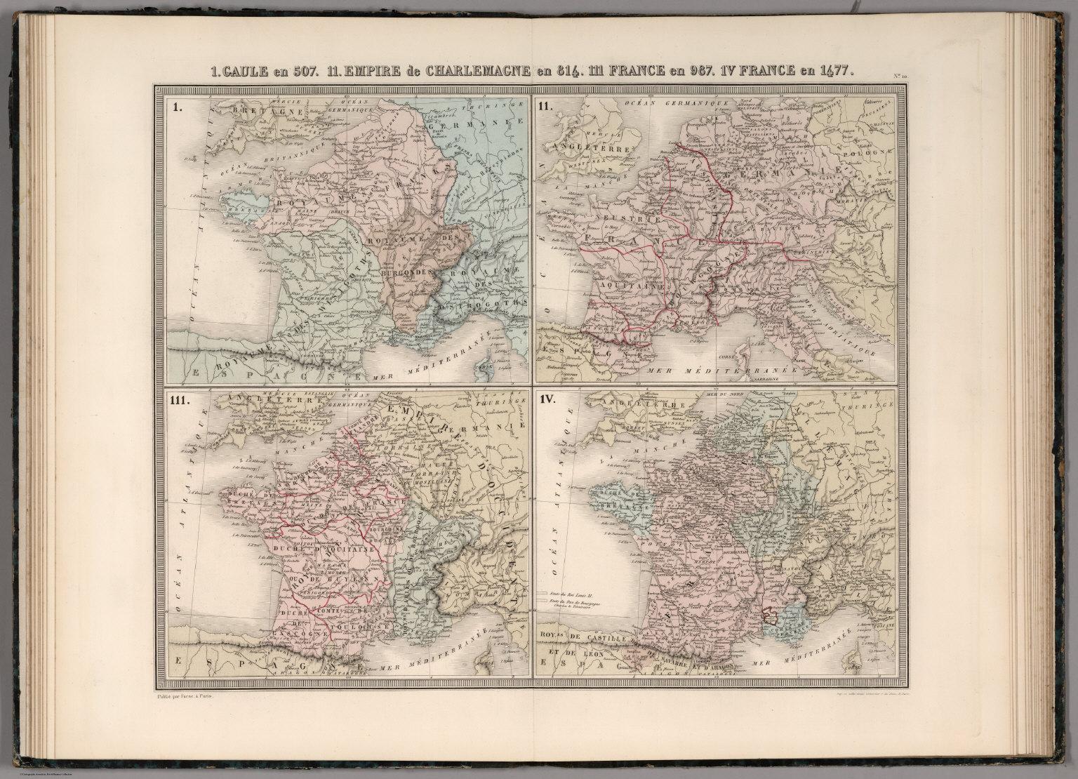 Map France 987.I Gaule En 507 Ii Empire De Charlemagne En 814 Iii France En