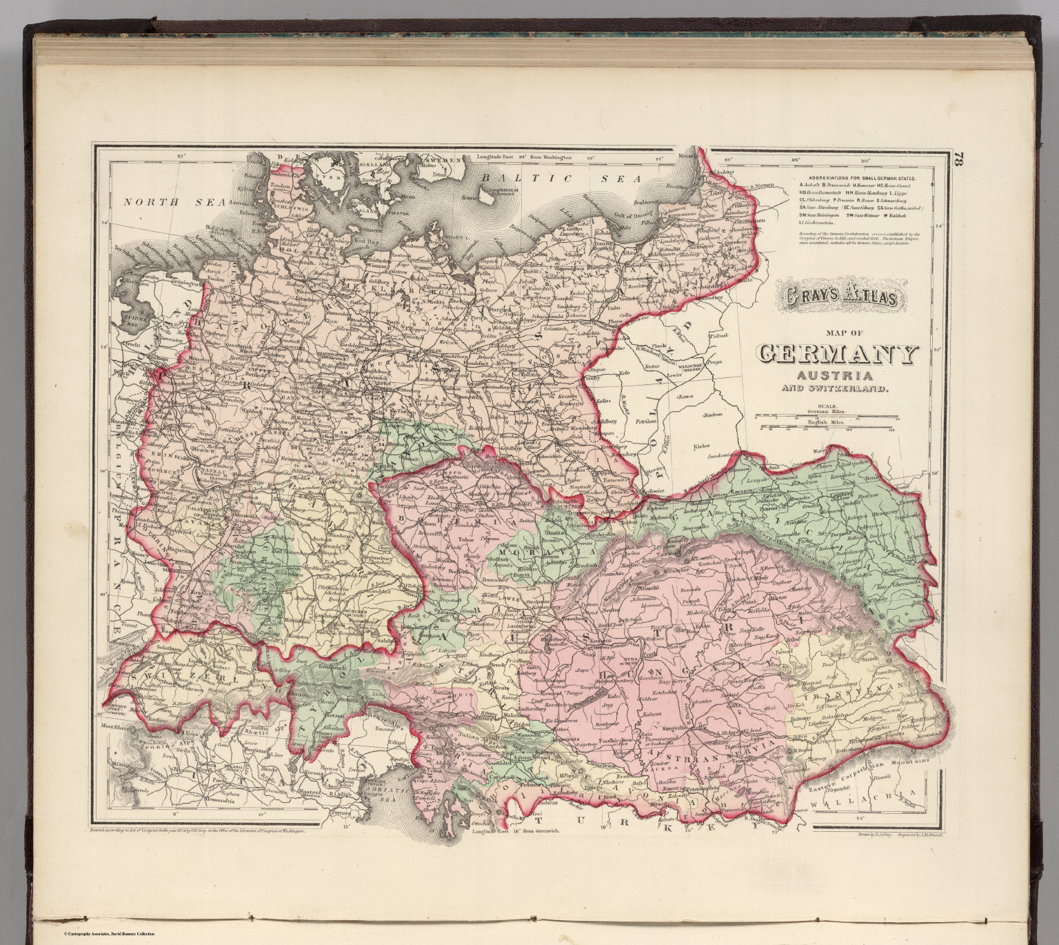 Germany austria and switzerland david rumsey historical map germany austria and switzerland gumiabroncs Image collections
