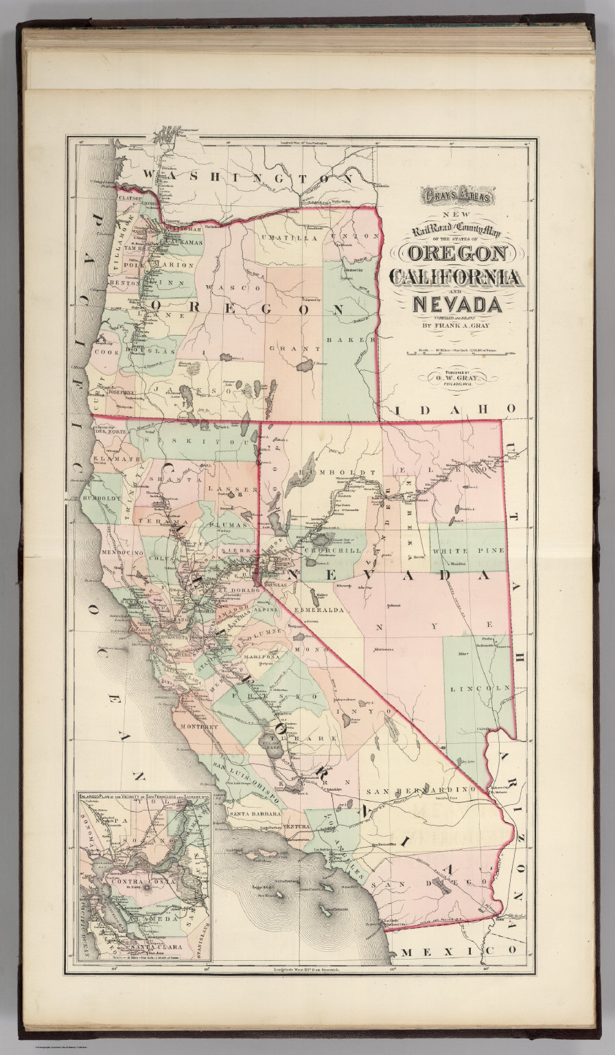 Railroad map of Oregon, California, and Nevada.