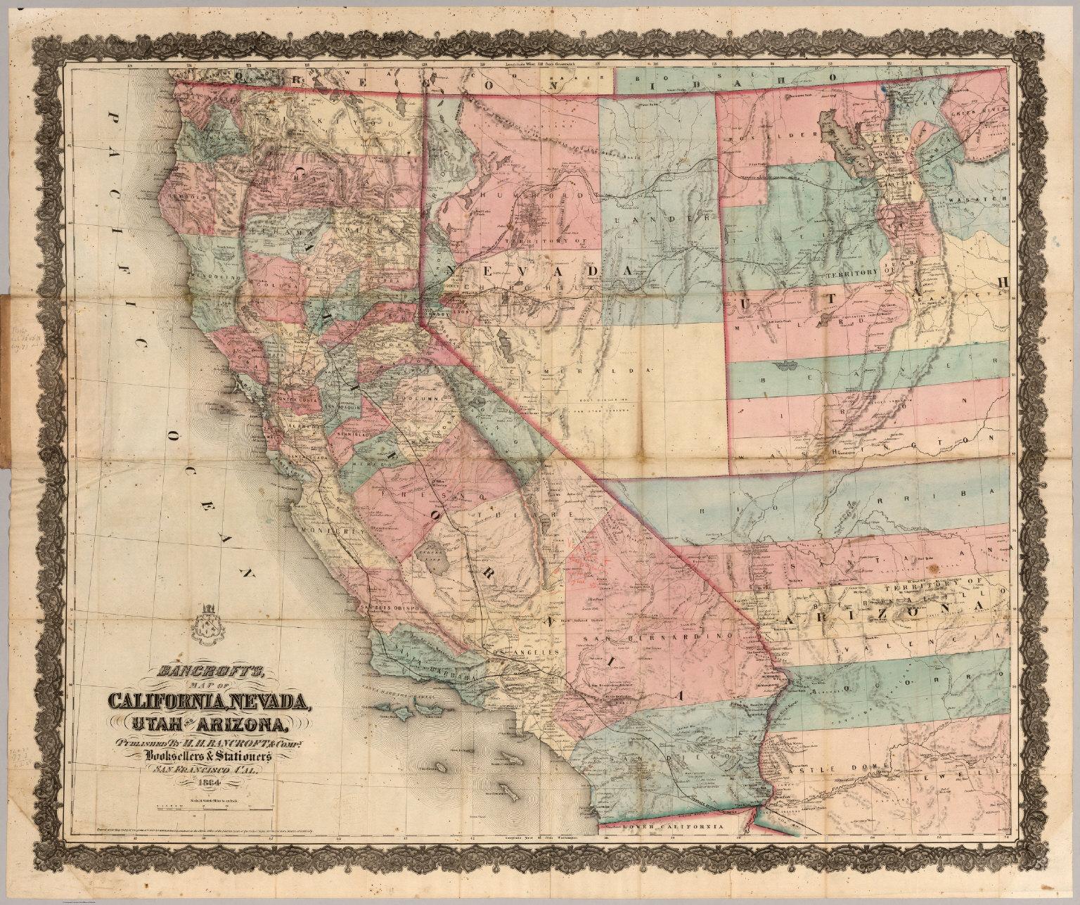 California, Nevada, Utah And Arizona - David Rumsey Historical Map ...