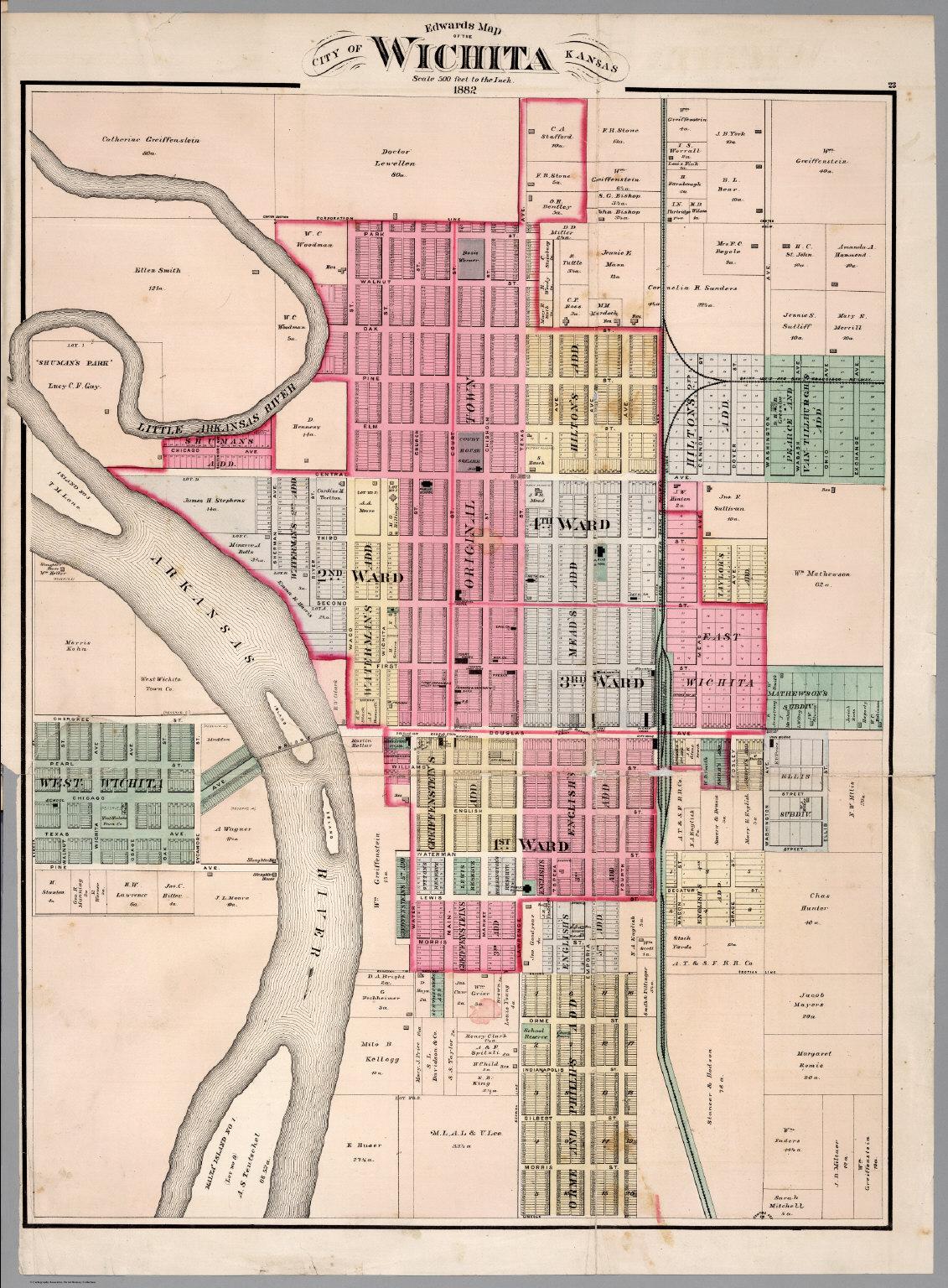 Edwards Map of the City of Wichita Kansas 1882 David Rumsey