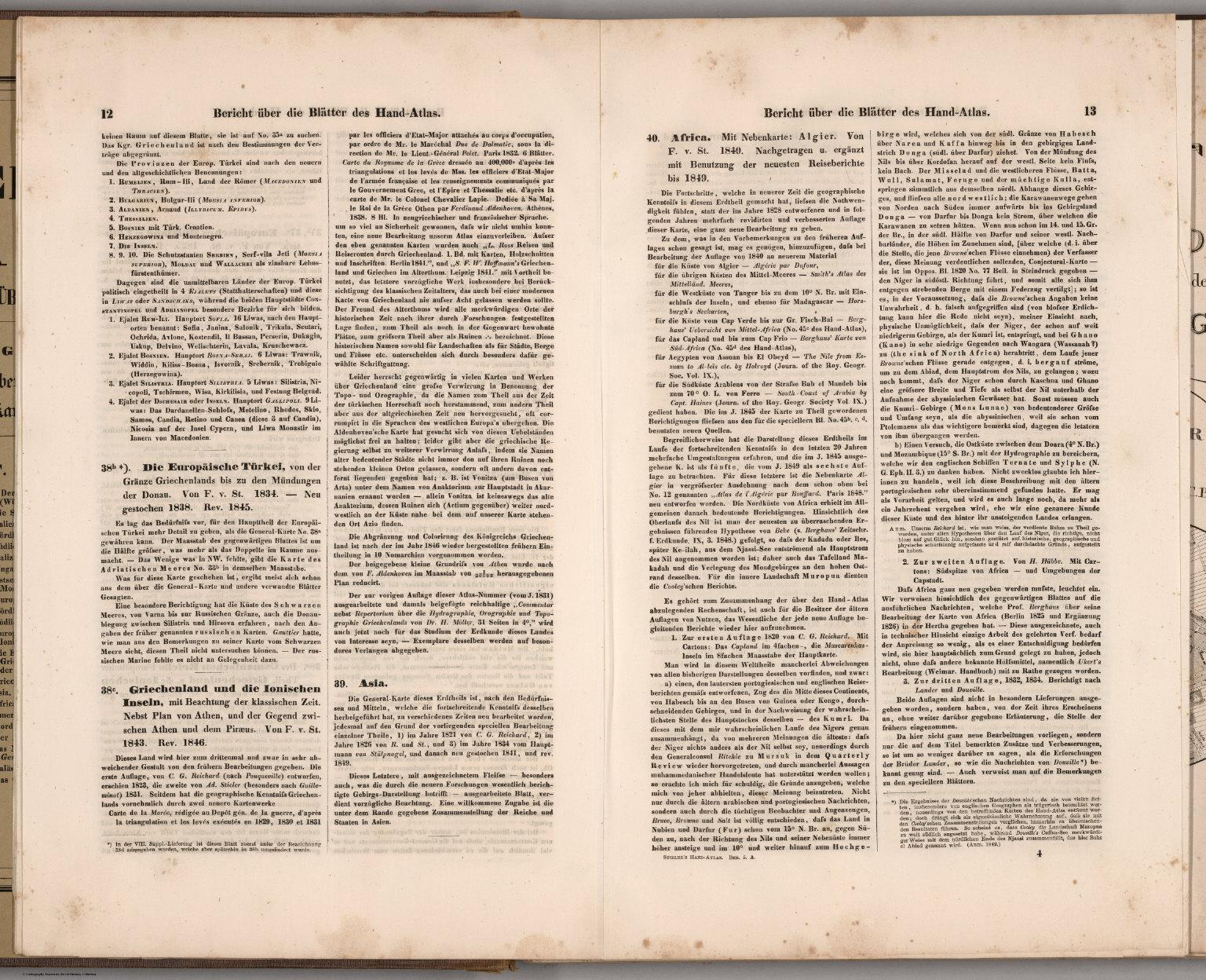 Text: (Description of Maps 38a-40) Stieler's Hand-Atlas.