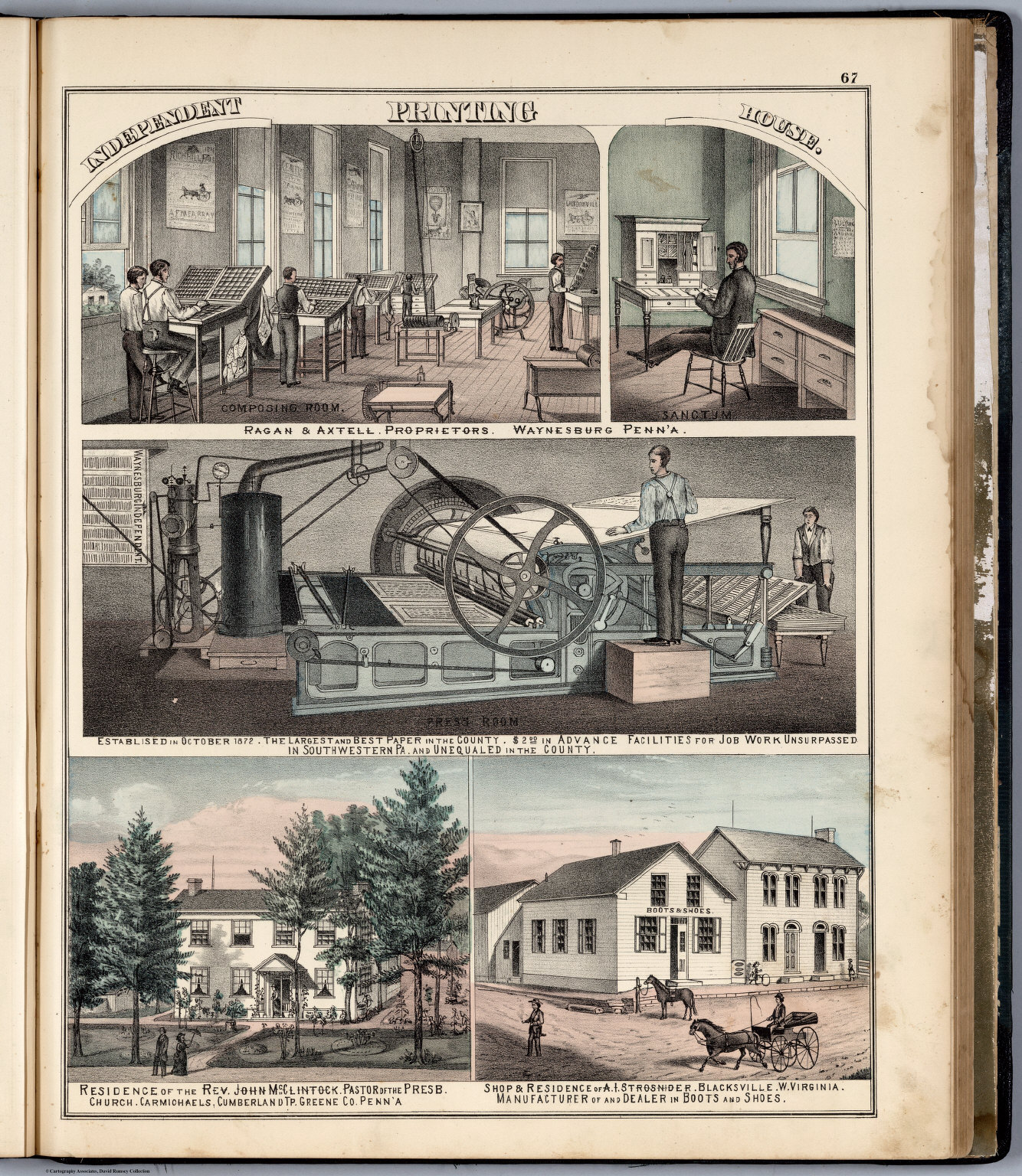View: Ragan & Aztell. Residences of John McClintock, A.I. Strosnider, Greene County, Pennsylvania.